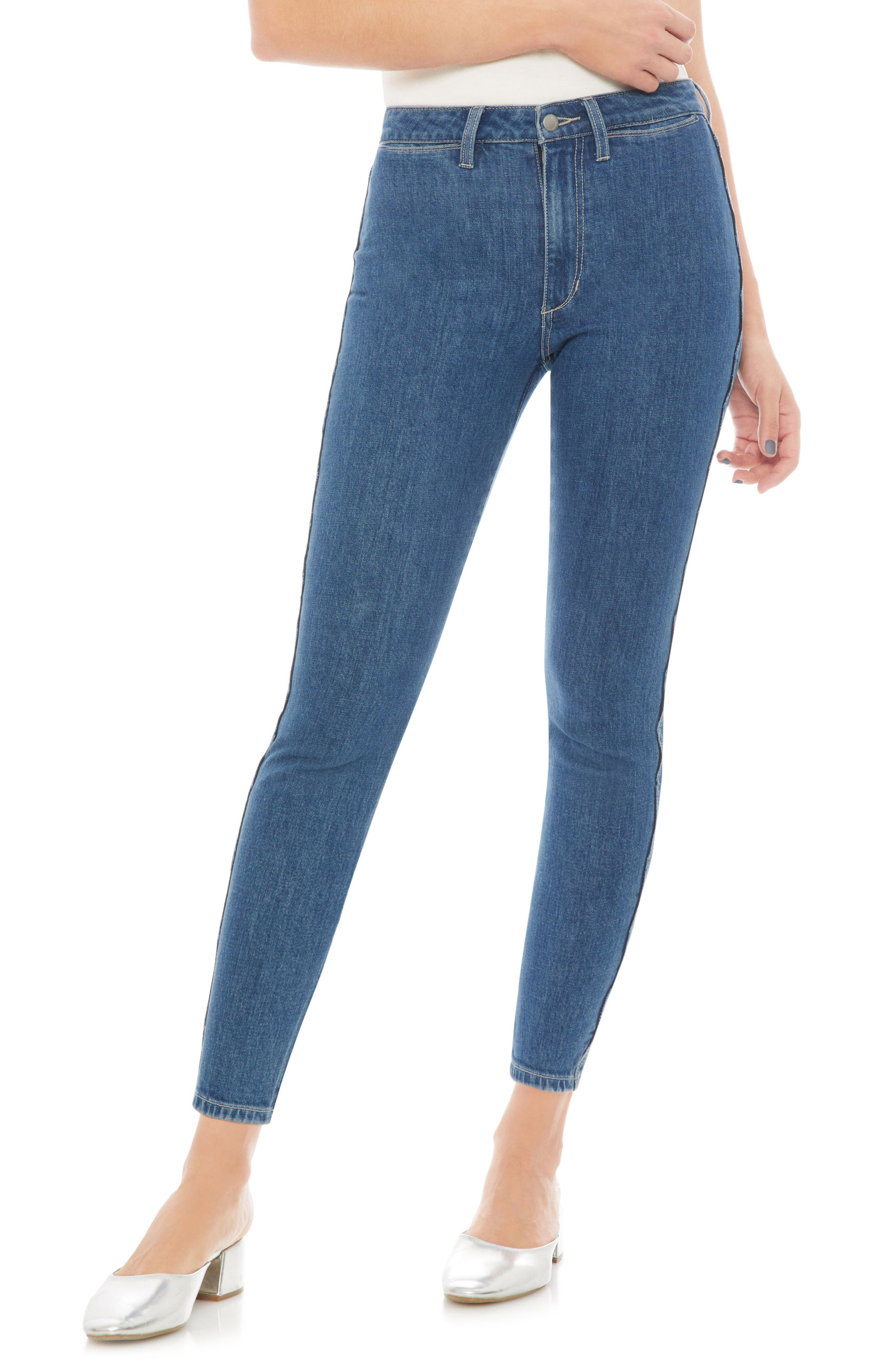 Charlie High Waist Crop Skinny Jeans,                             Main thumbnail 1, color,                             Dollie