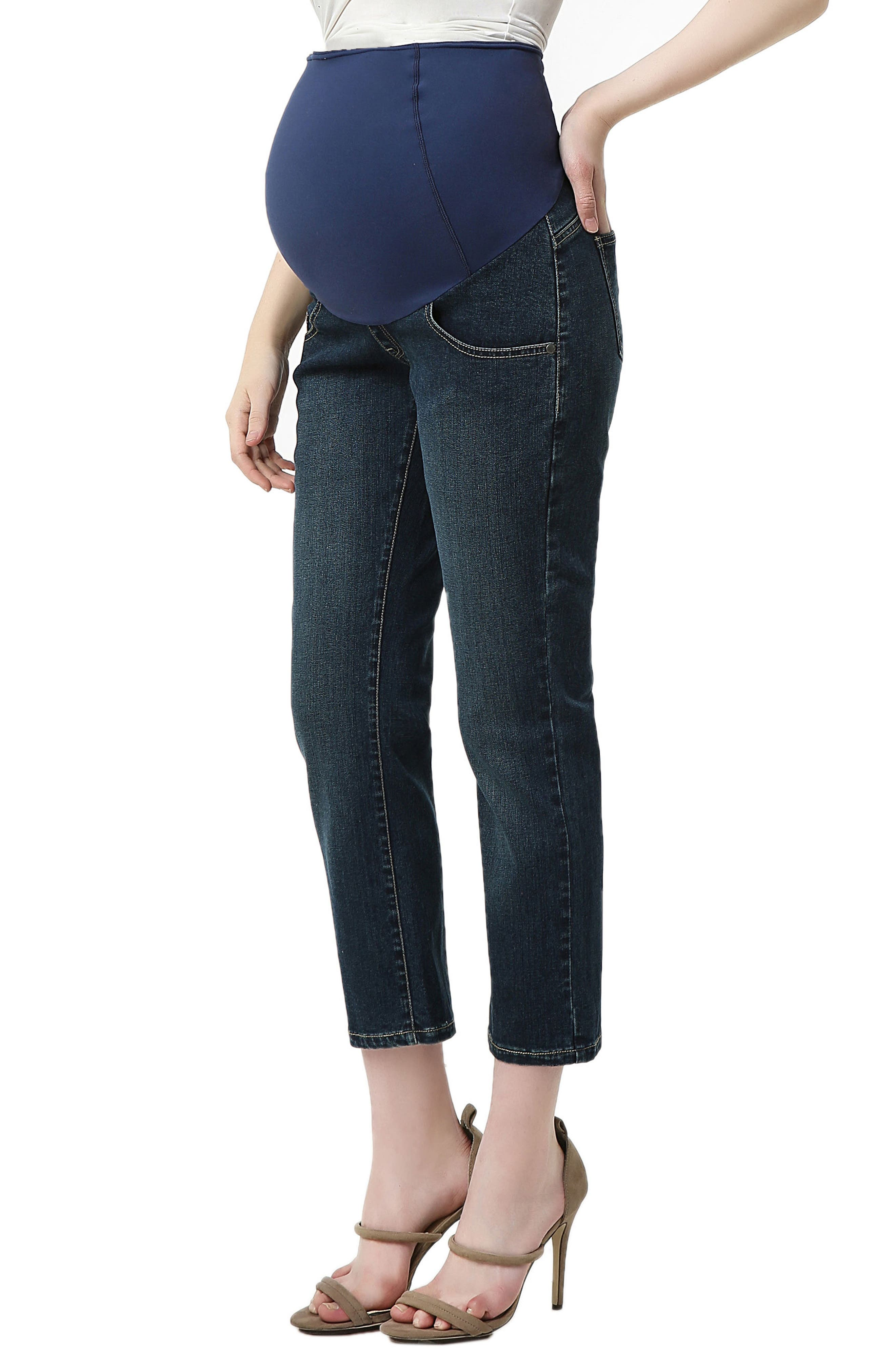 Jodie Crop Girlfriend Maternity Jeans,                             Alternate thumbnail 3, color,                             Rich Indigo