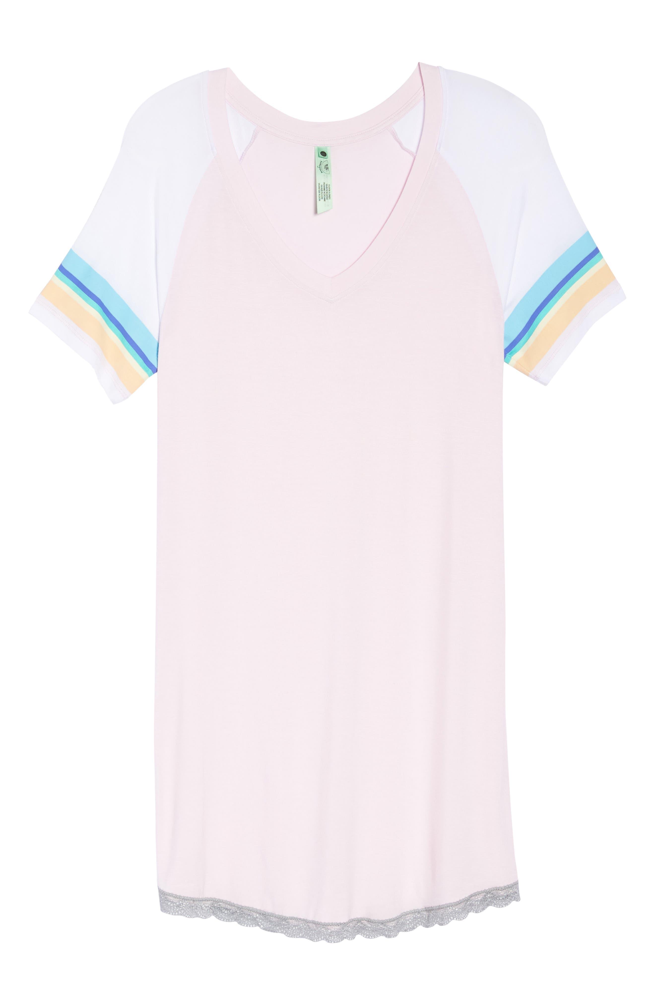 Honeydew Lace Trim Sleep Shirt,                             Alternate thumbnail 6, color,                             Cherry Soda