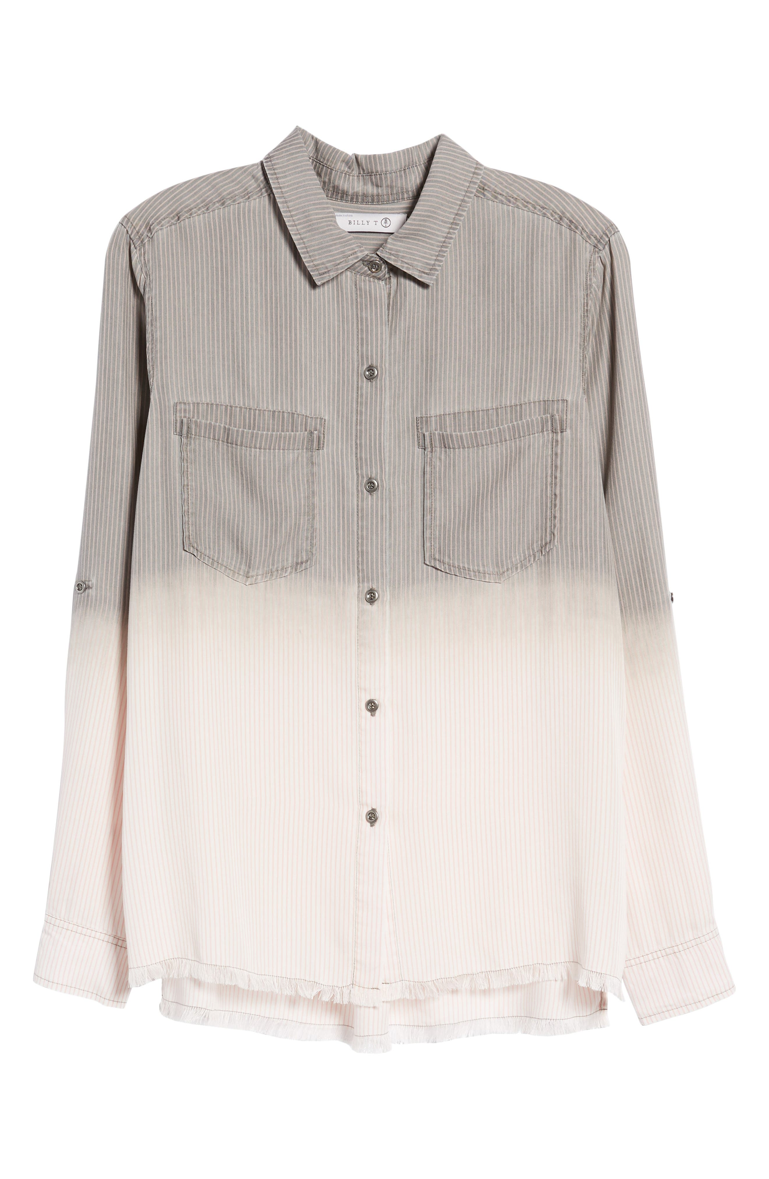 Laced Back Button Up Shirt,                             Alternate thumbnail 7, color,                             Grey Rr Stripe