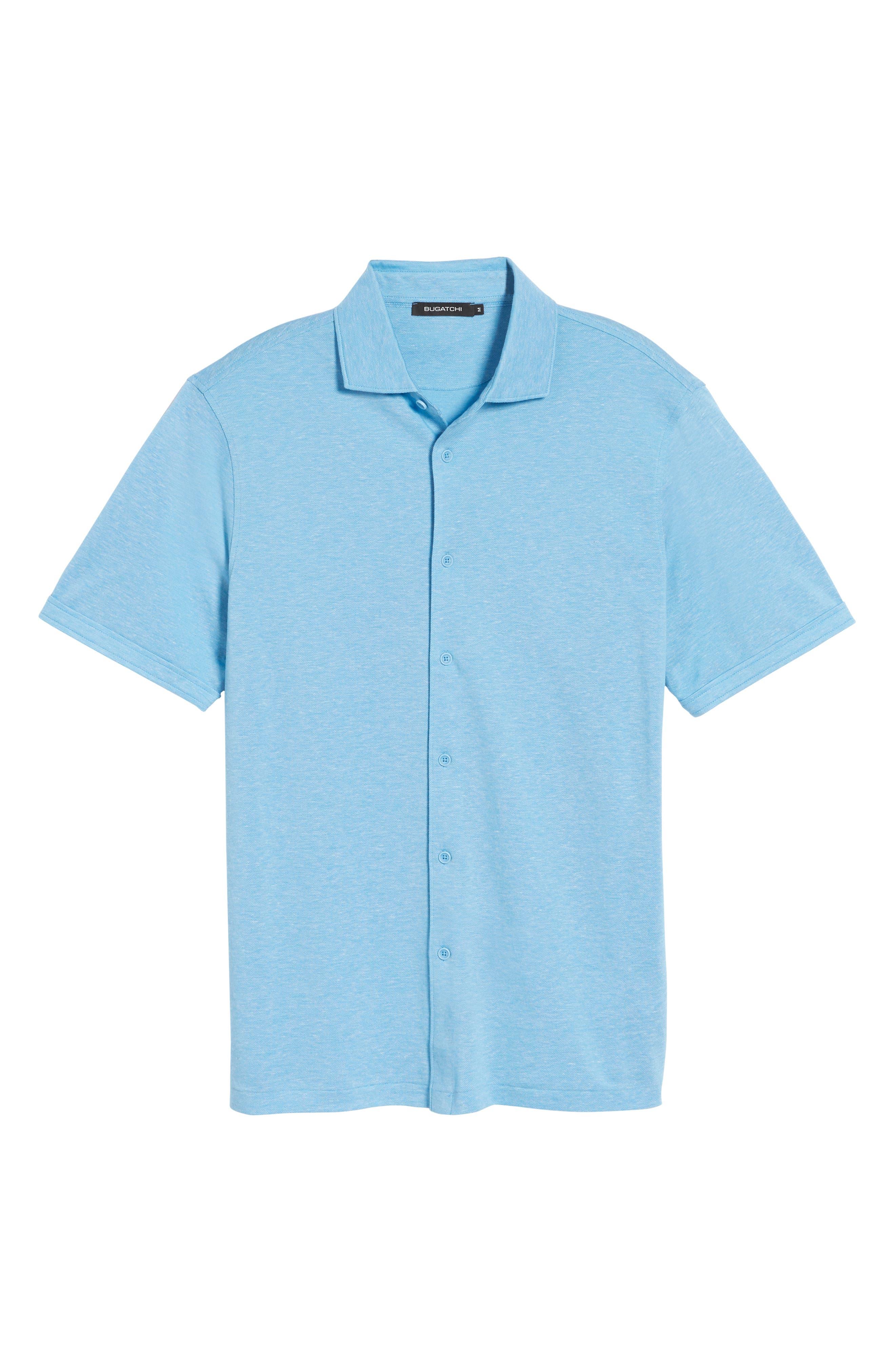 Regular Fit Heather Knit Sport Shirt,                             Alternate thumbnail 6, color,                             Air Blue