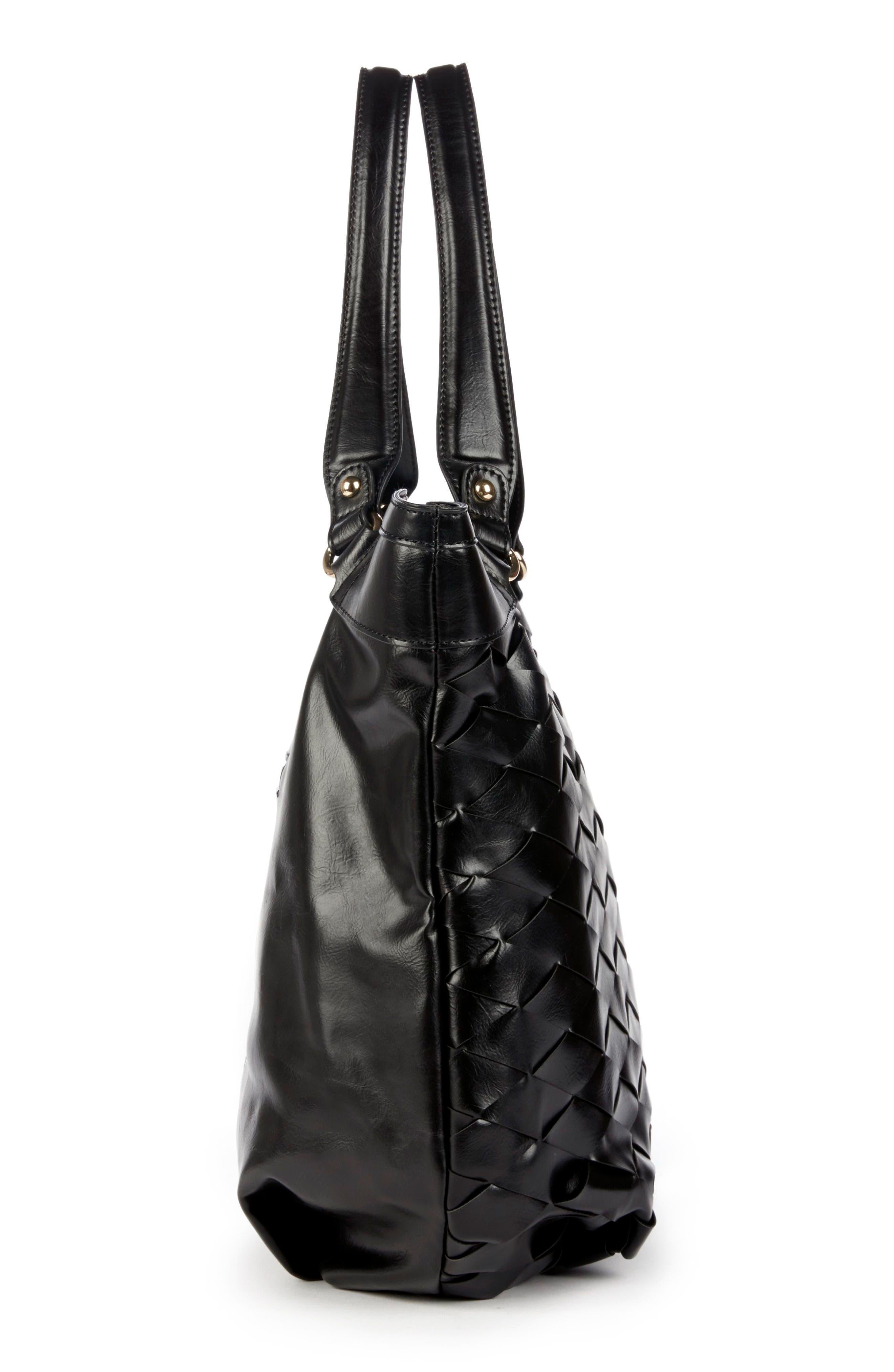 Adrina Faux Leather Tote,                             Alternate thumbnail 4, color,                             Black