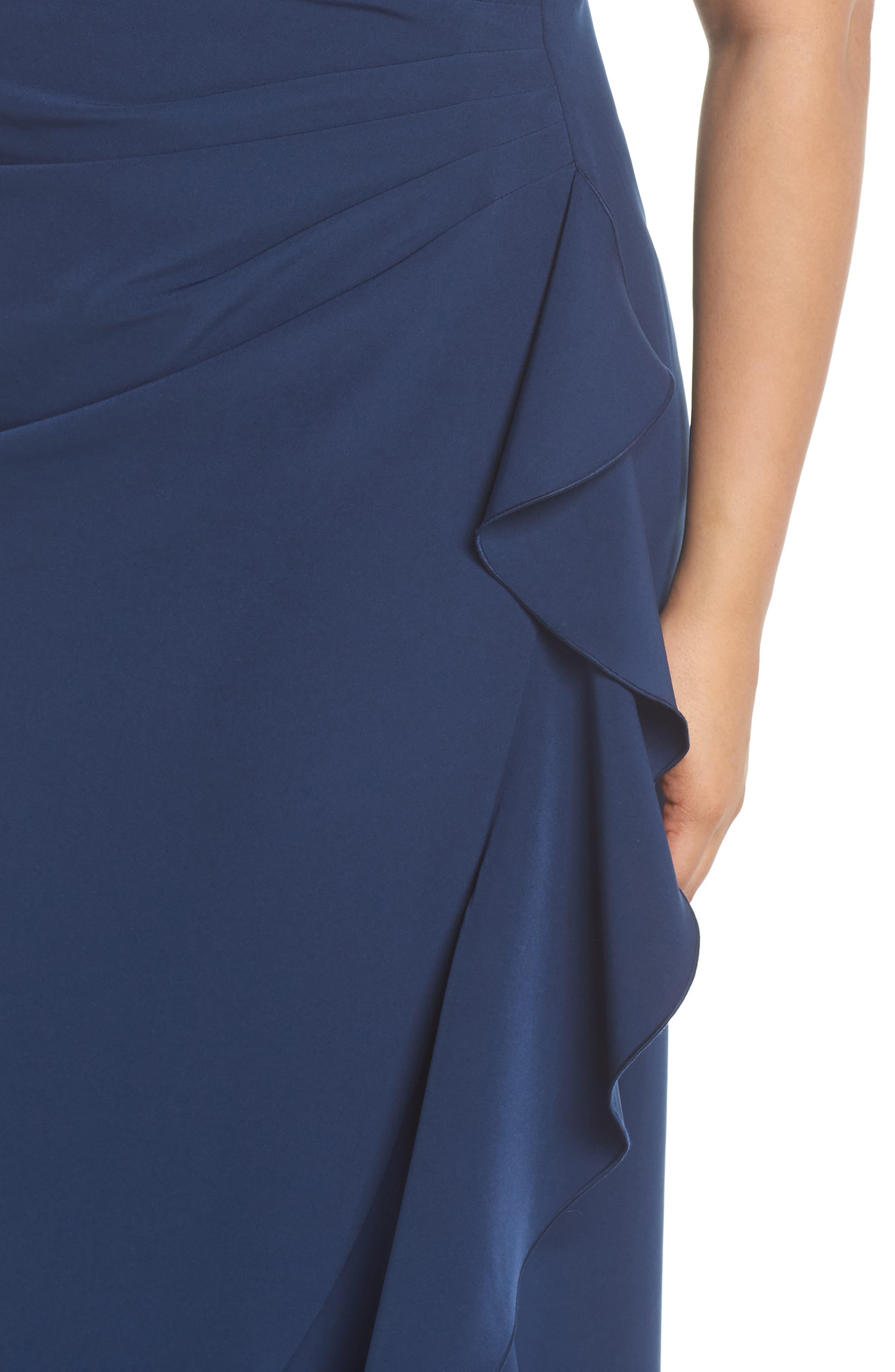Laguna Faux Wrap Ruffle Gown,                             Alternate thumbnail 4, color,                             Blue