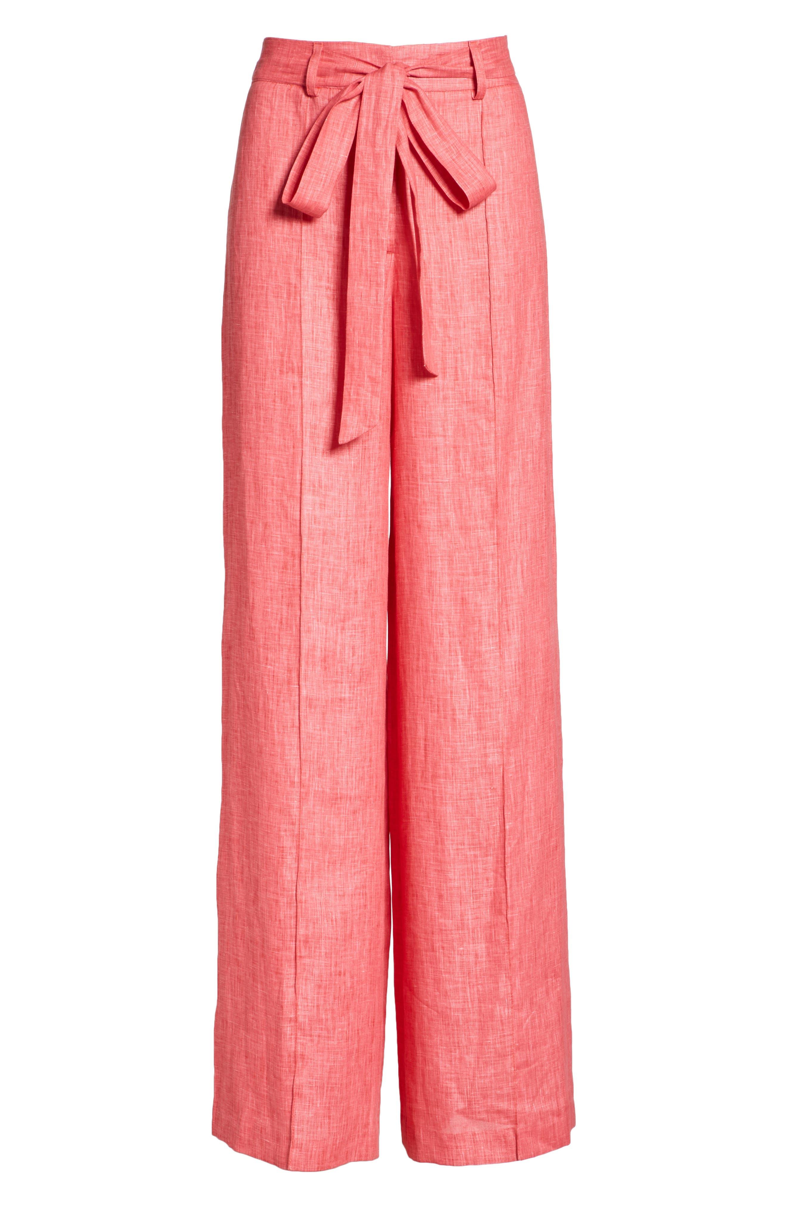 Hayden Belted Wide Leg Italian Linen Pants,                             Alternate thumbnail 6, color,                             Poppy
