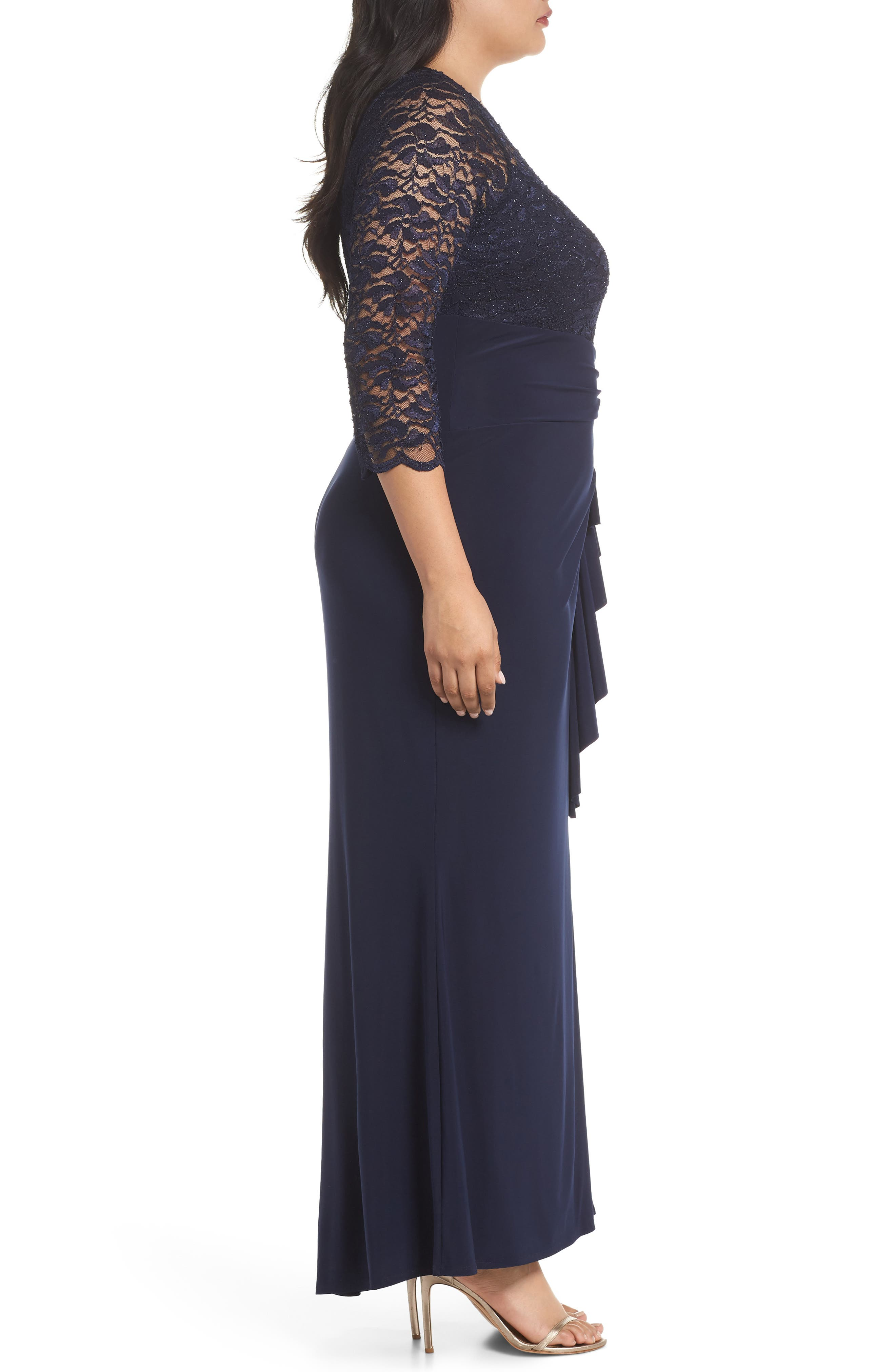 Alternate Image 3  - Marina Cascade Lace & Jersey Gown (Plus Size)