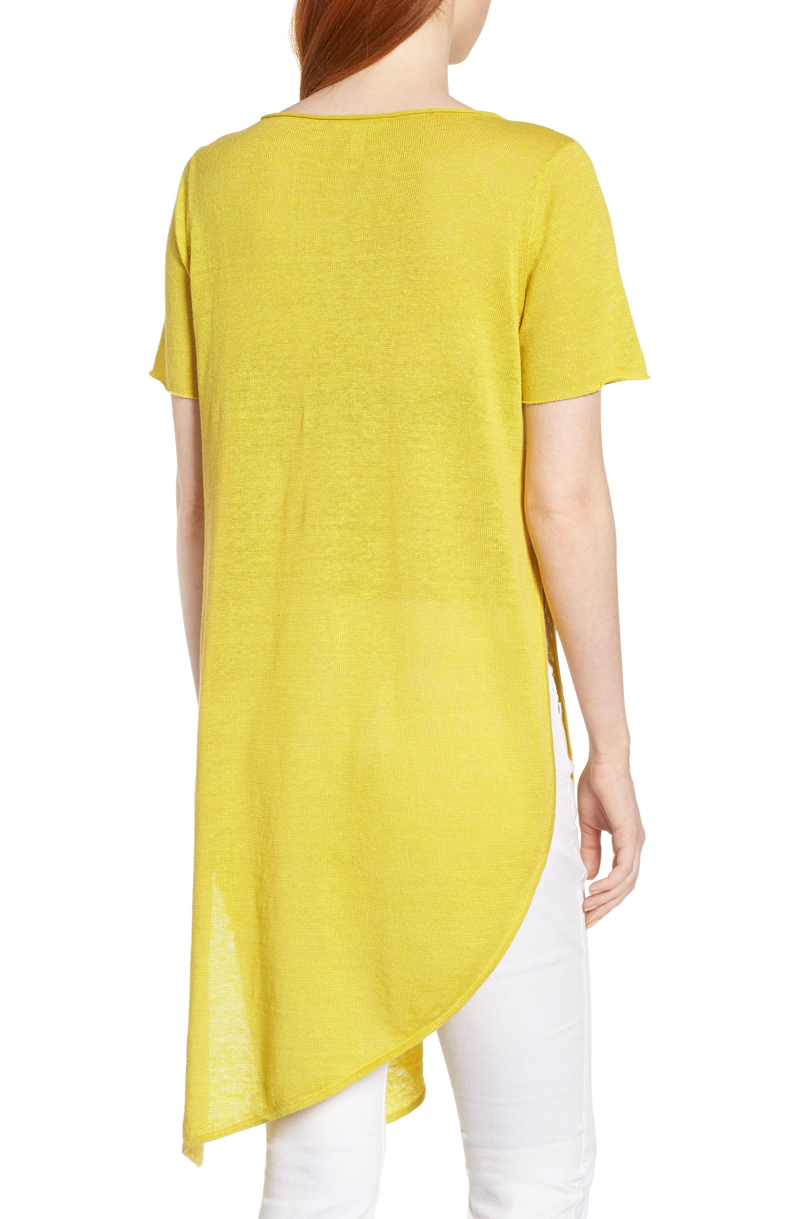 Asymmetrical Organic Linen Tunic,                             Alternate thumbnail 2, color,                             Yarrow