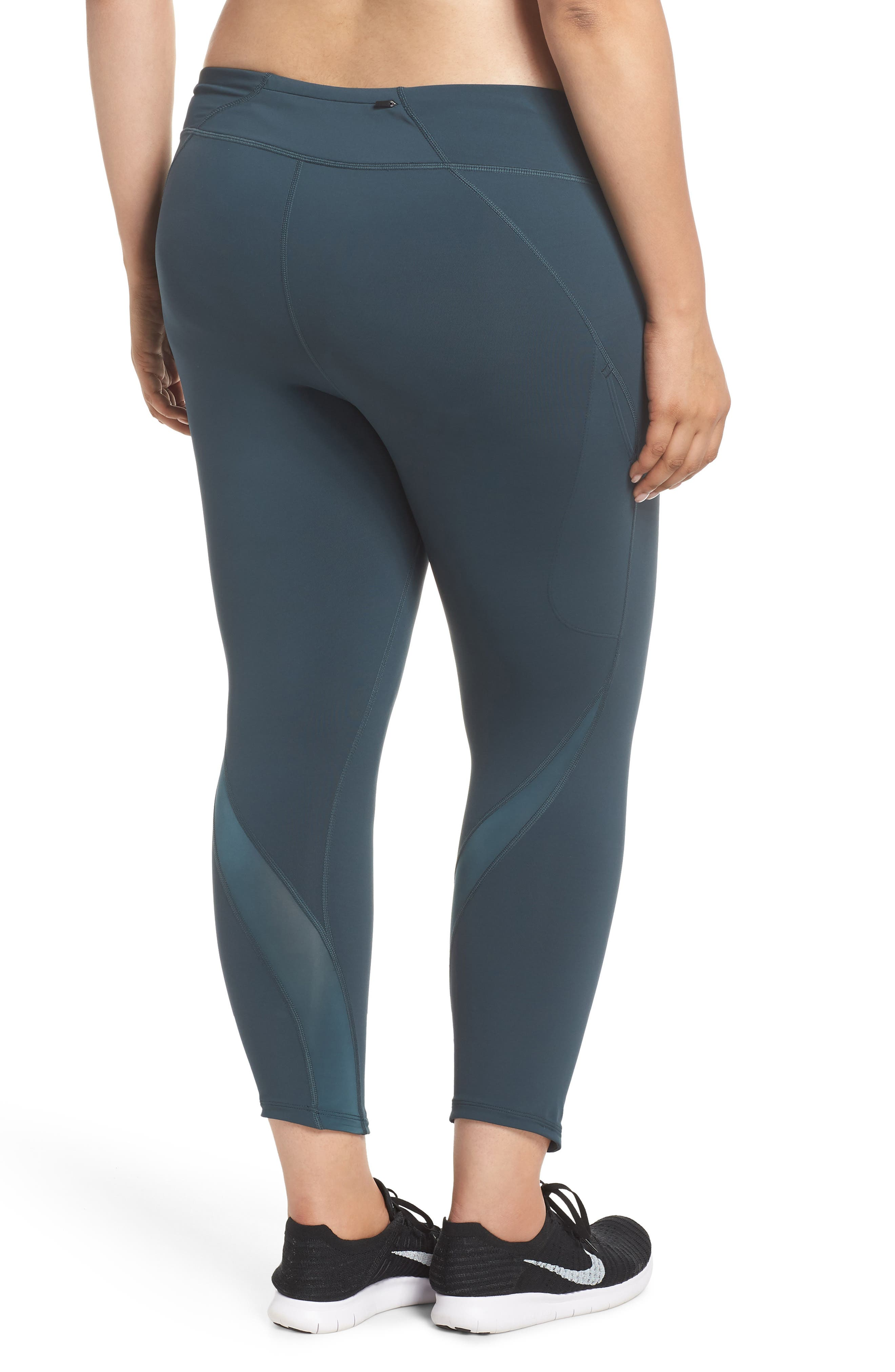 Power Epic Lux Crop Running Tights,                             Alternate thumbnail 2, color,                             Deep Jungle