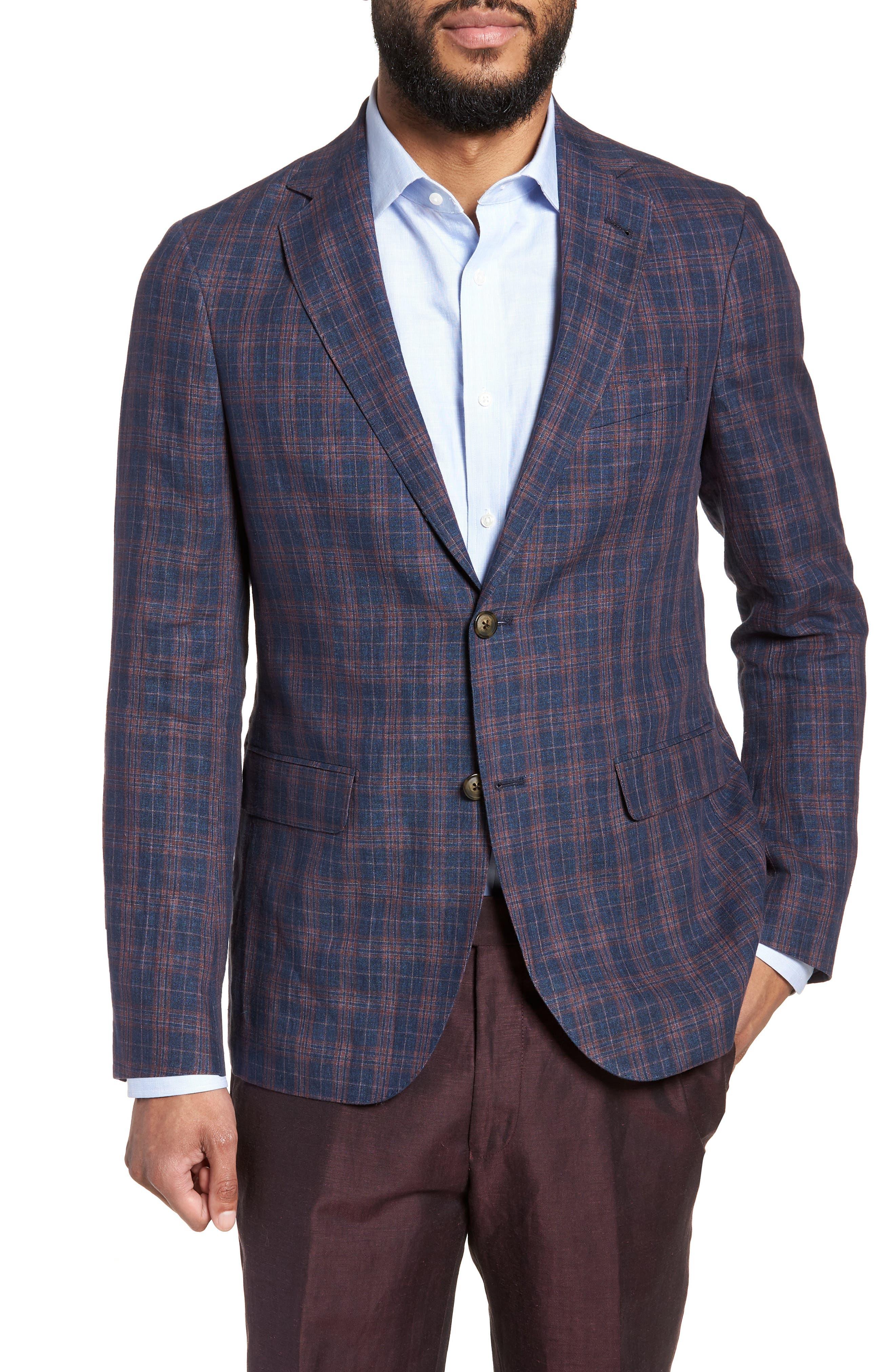 Vanquish Trim Fit Plaid Linen Sport Coat,                         Main,                         color, Navy/ Red