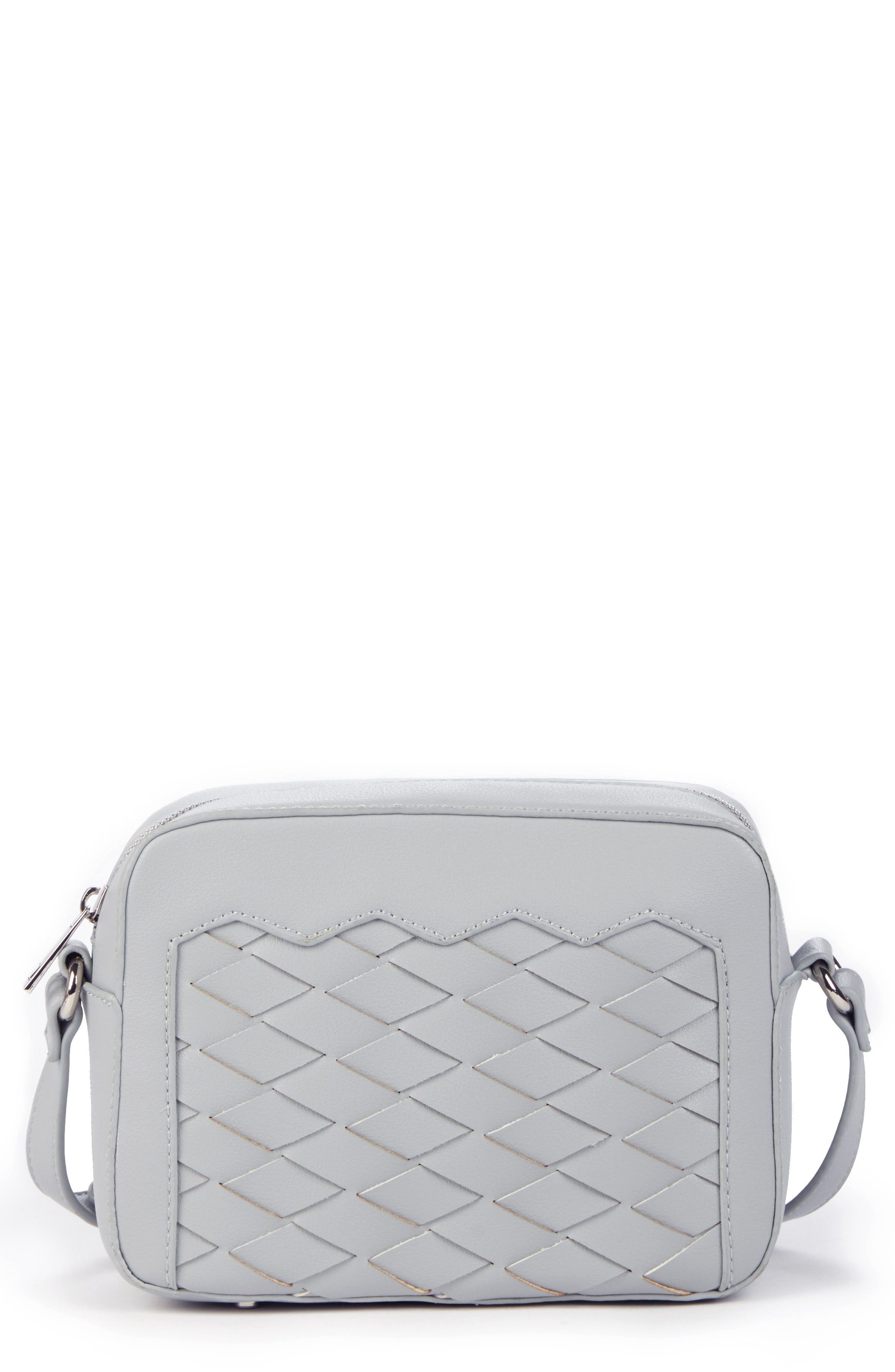 Sole Society Hand Woven Faux Leather Crossbody Bag