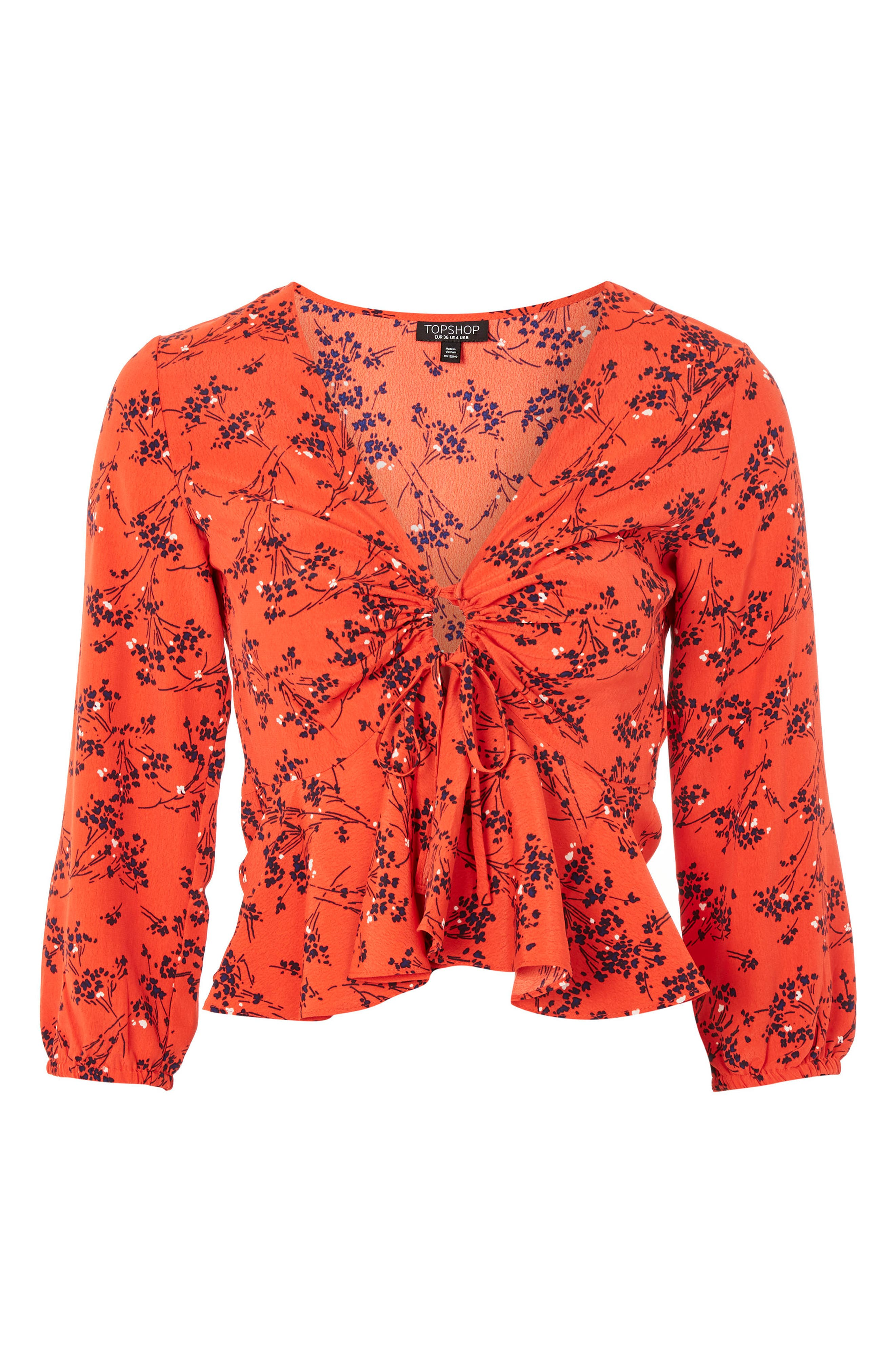 Betty Floral Print Keyhole Blouse,                             Alternate thumbnail 4, color,                             Red Multi