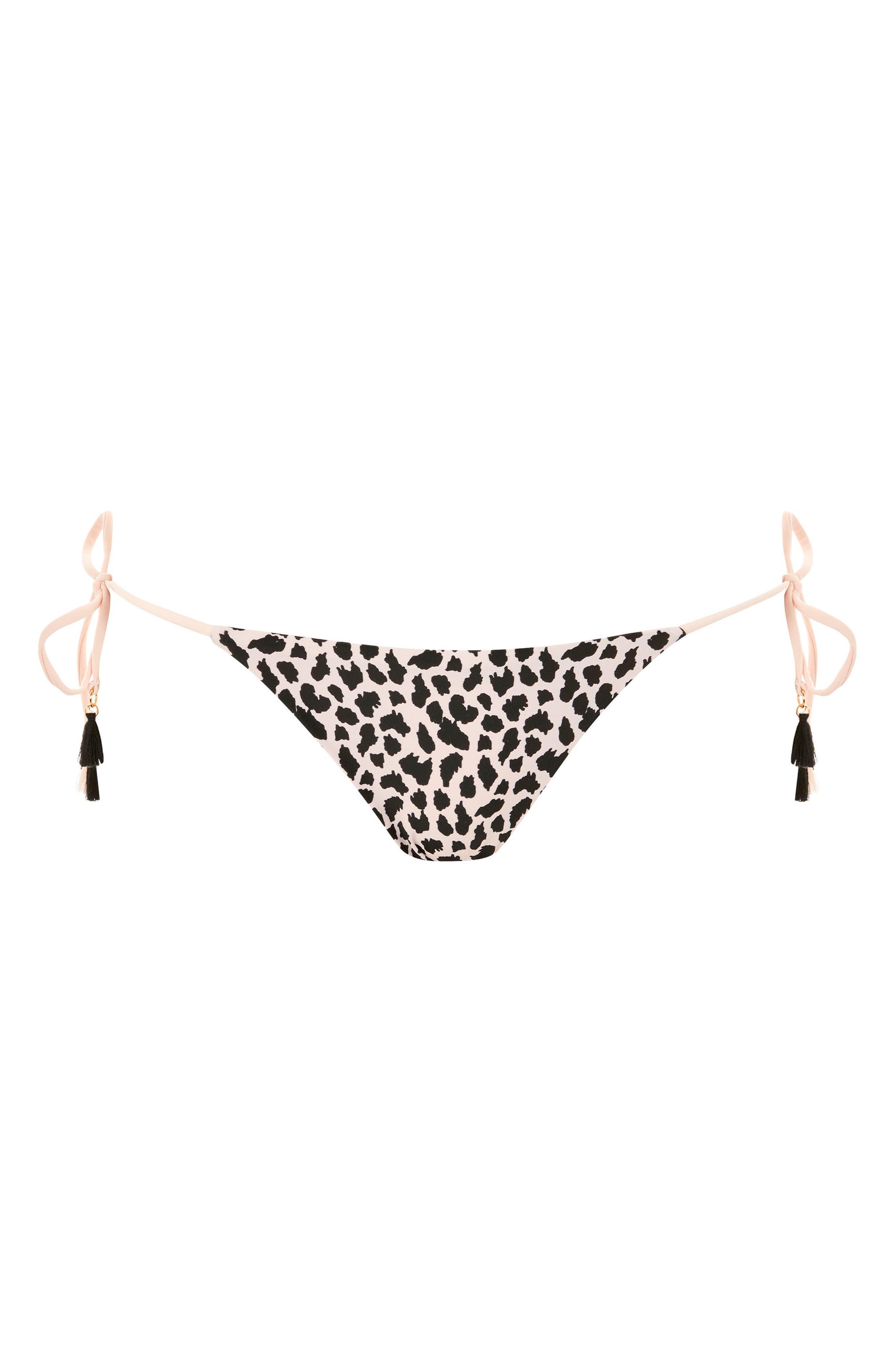 Leopard Shirred Side Tie Bikini Bottoms,                             Alternate thumbnail 3, color,                             Blush Multi