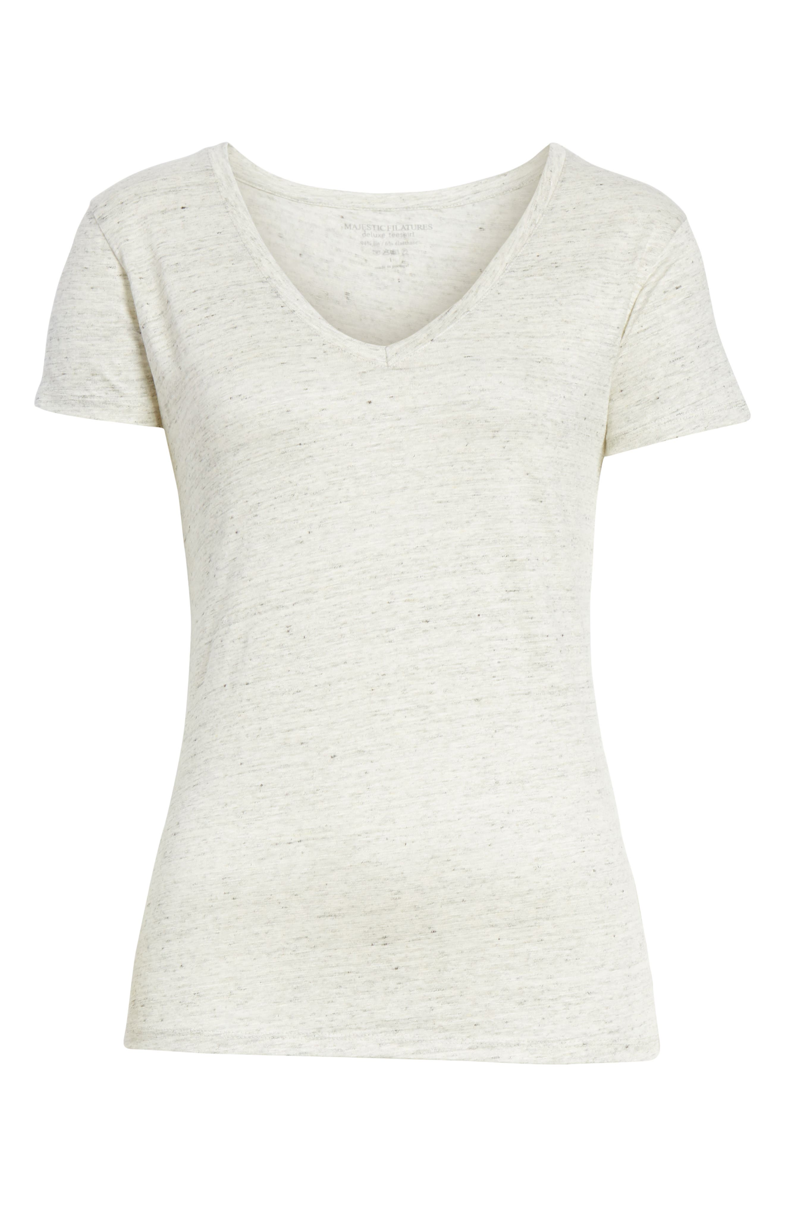 Stretch Linen V-Neck Tee,                             Alternate thumbnail 6, color,                             Carrare