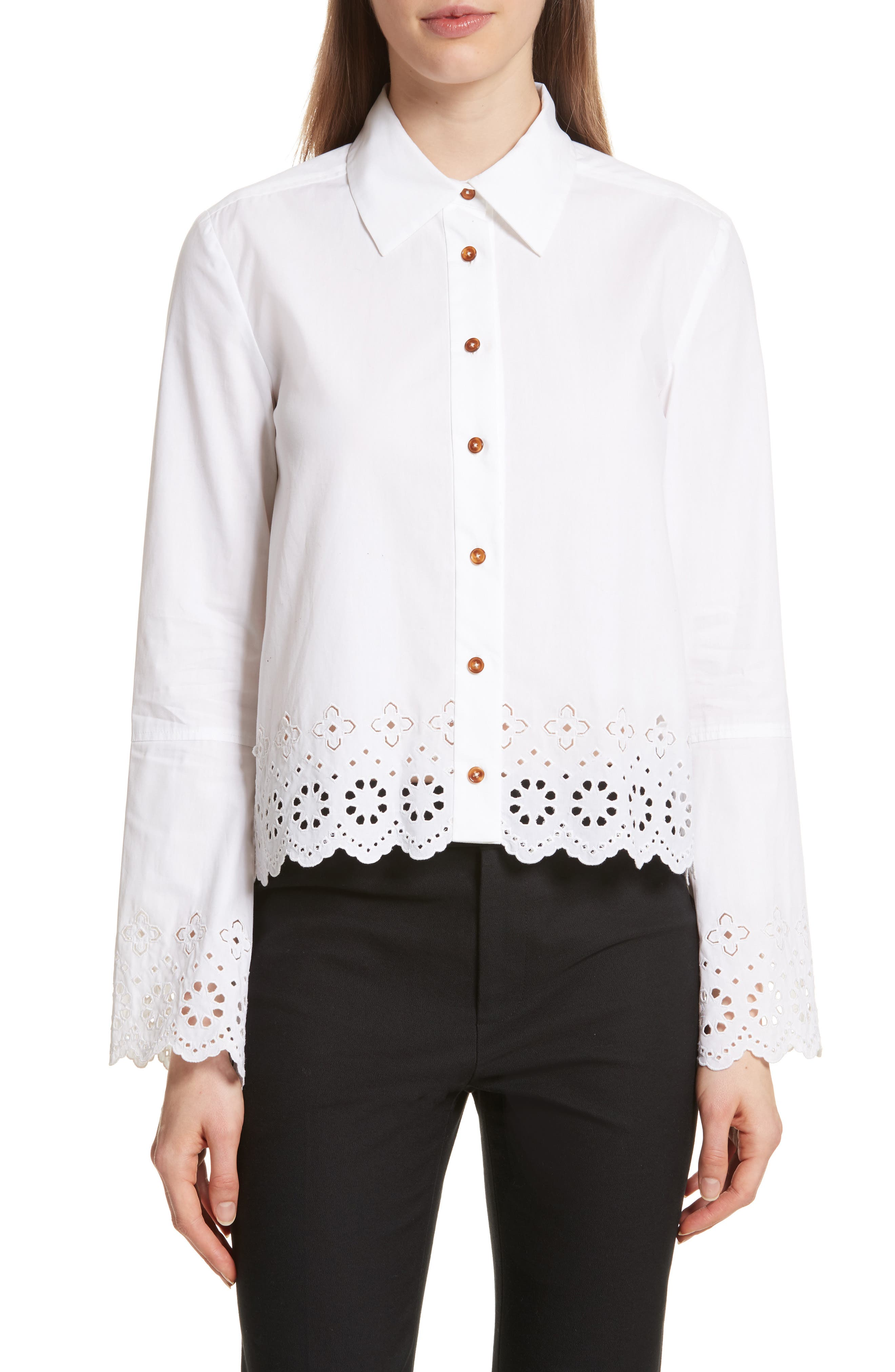 Embroidered Poplin Top,                         Main,                         color, Optic White