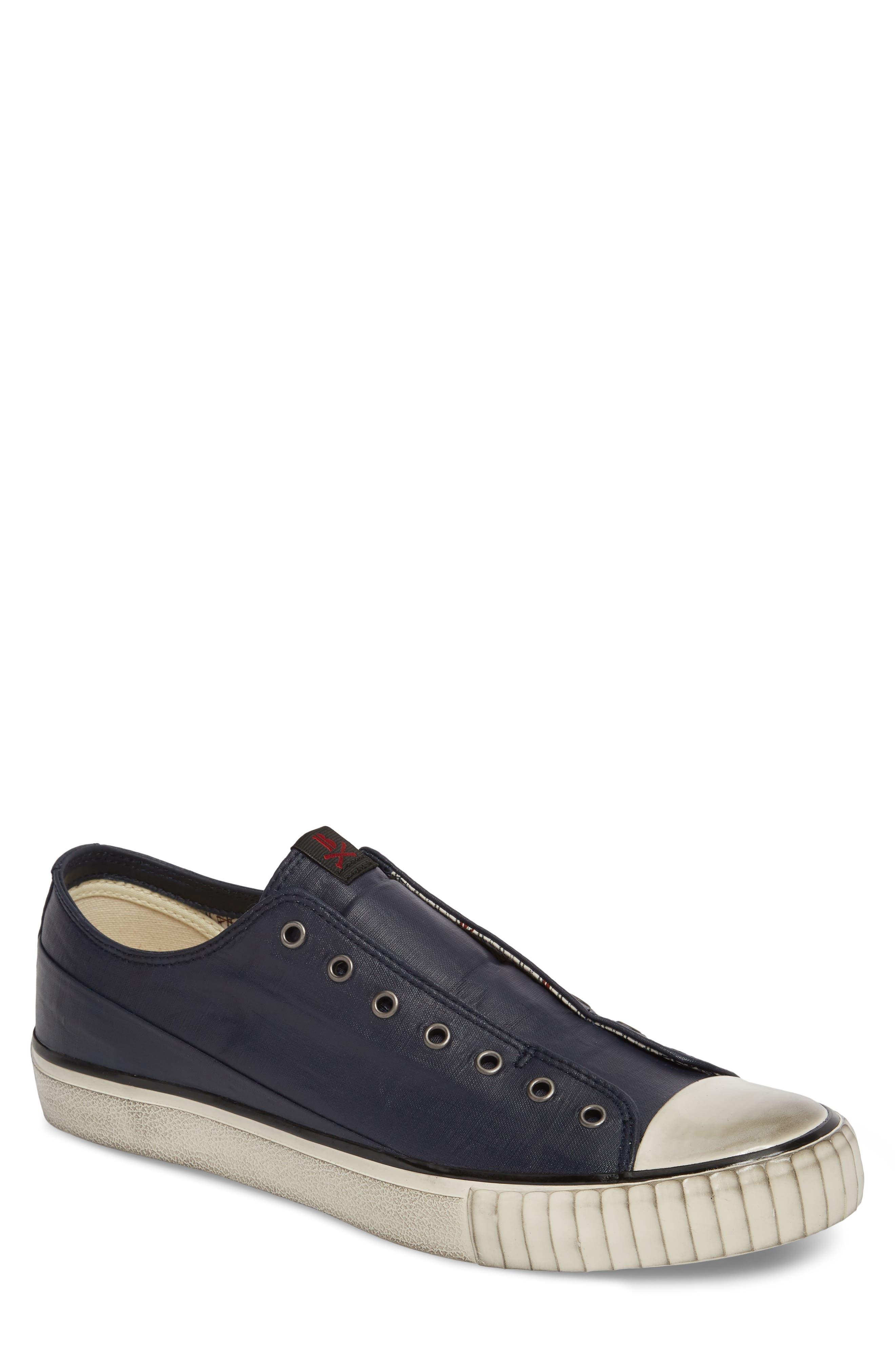 John Varvatos Star USA Bootleg Linen Laceless Sneaker,                             Main thumbnail 1, color,                             Midnight Linen