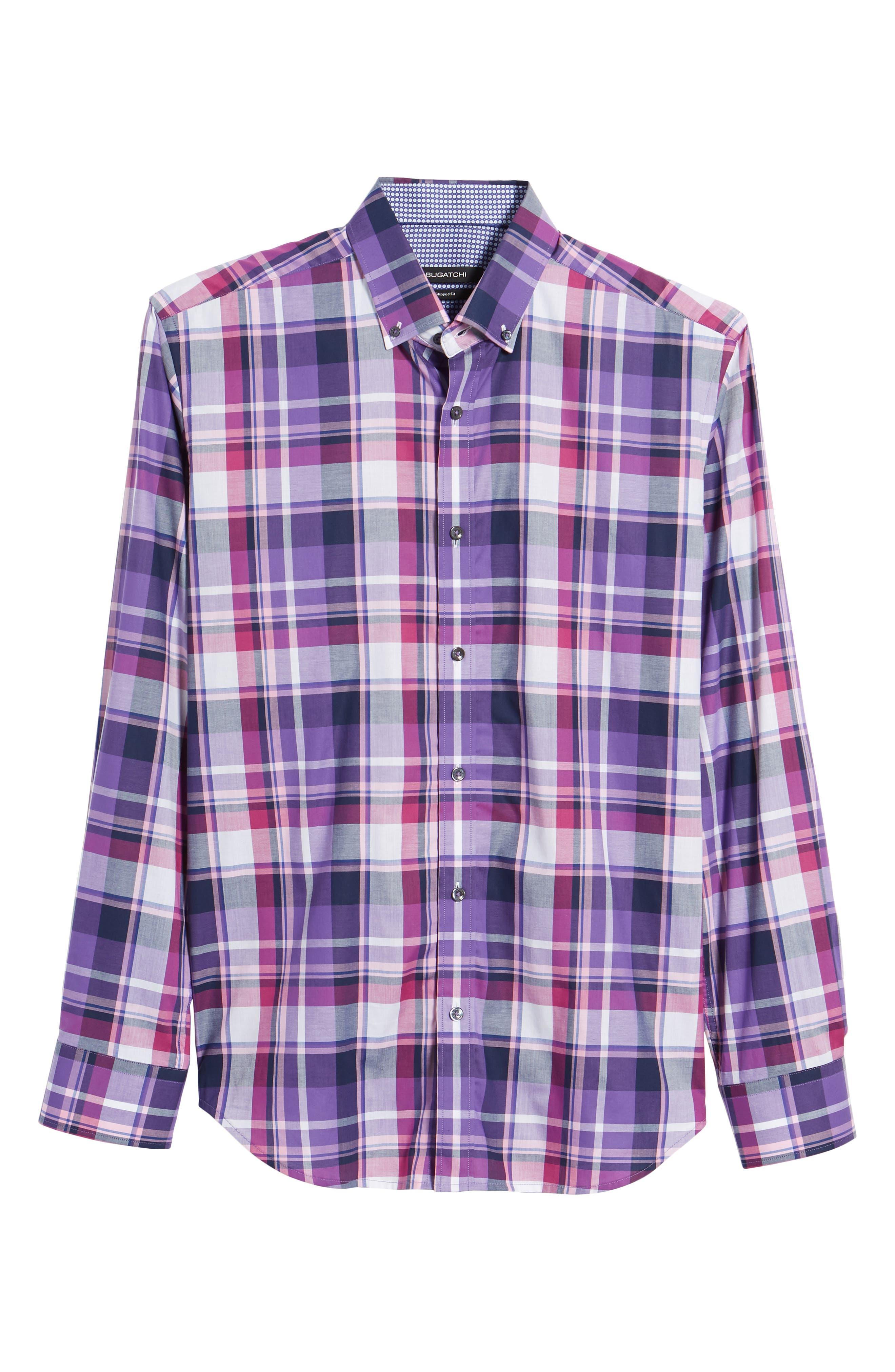 Shaped Fit Check Sport Shirt,                             Alternate thumbnail 6, color,                             Grape