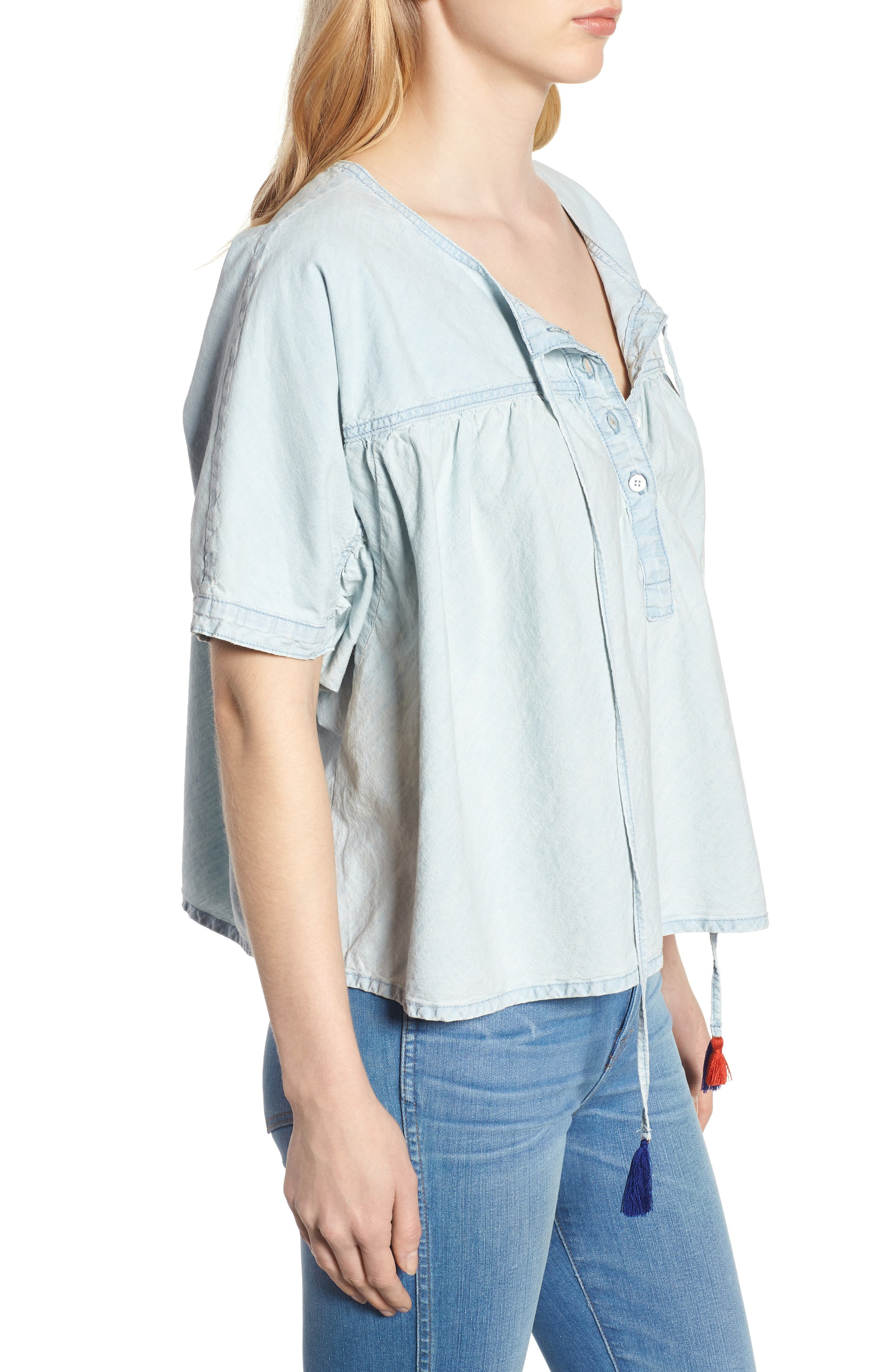 Tie Neck Chambray Top,                             Alternate thumbnail 3, color,                             Pelican Lake