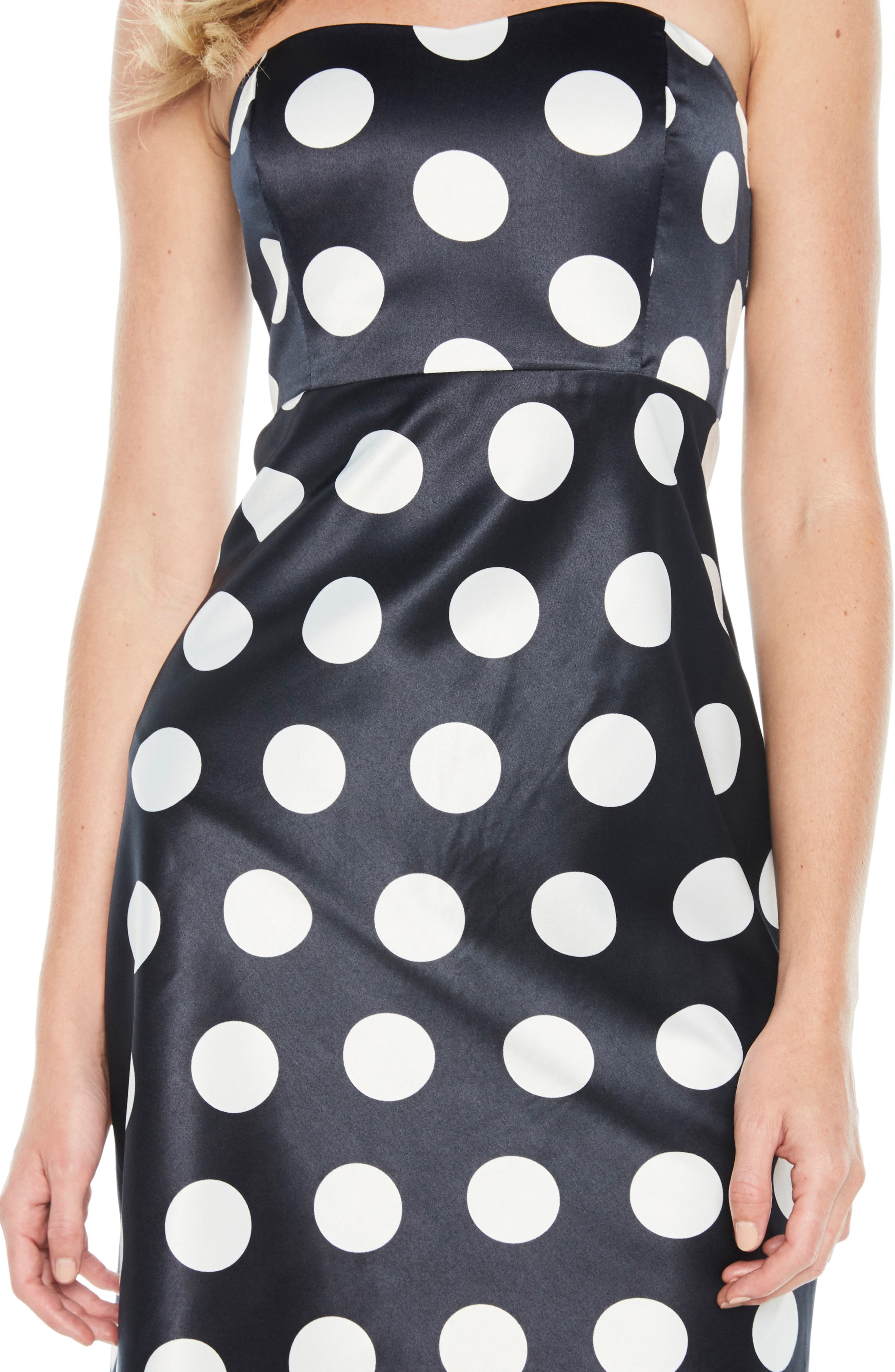 Sayer Dotted Tie Back Strapless Dress,                             Alternate thumbnail 4, color,                             Navy Spot
