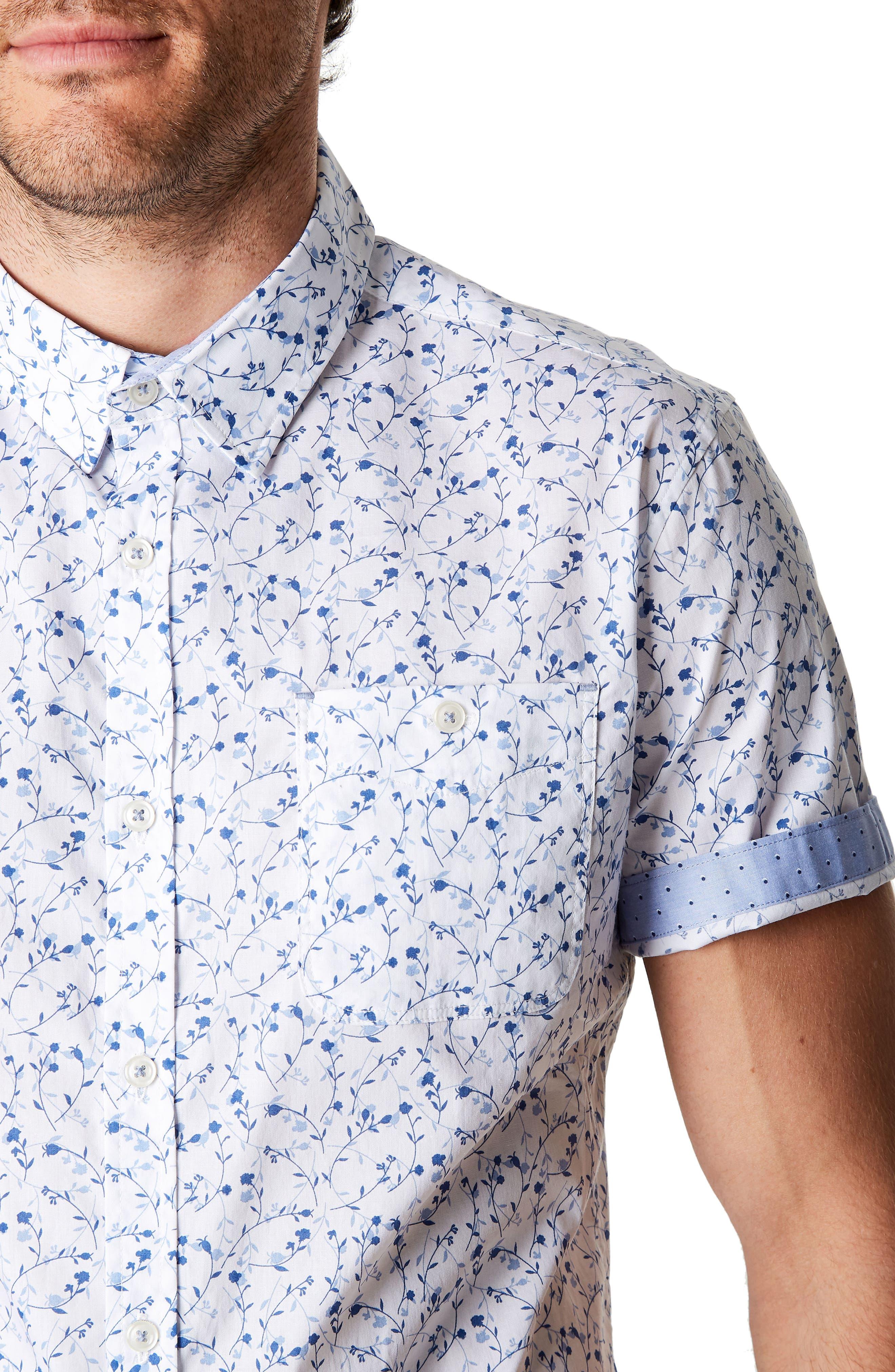 Mind Gardens Floral Sport Shirt,                             Alternate thumbnail 4, color,                             White