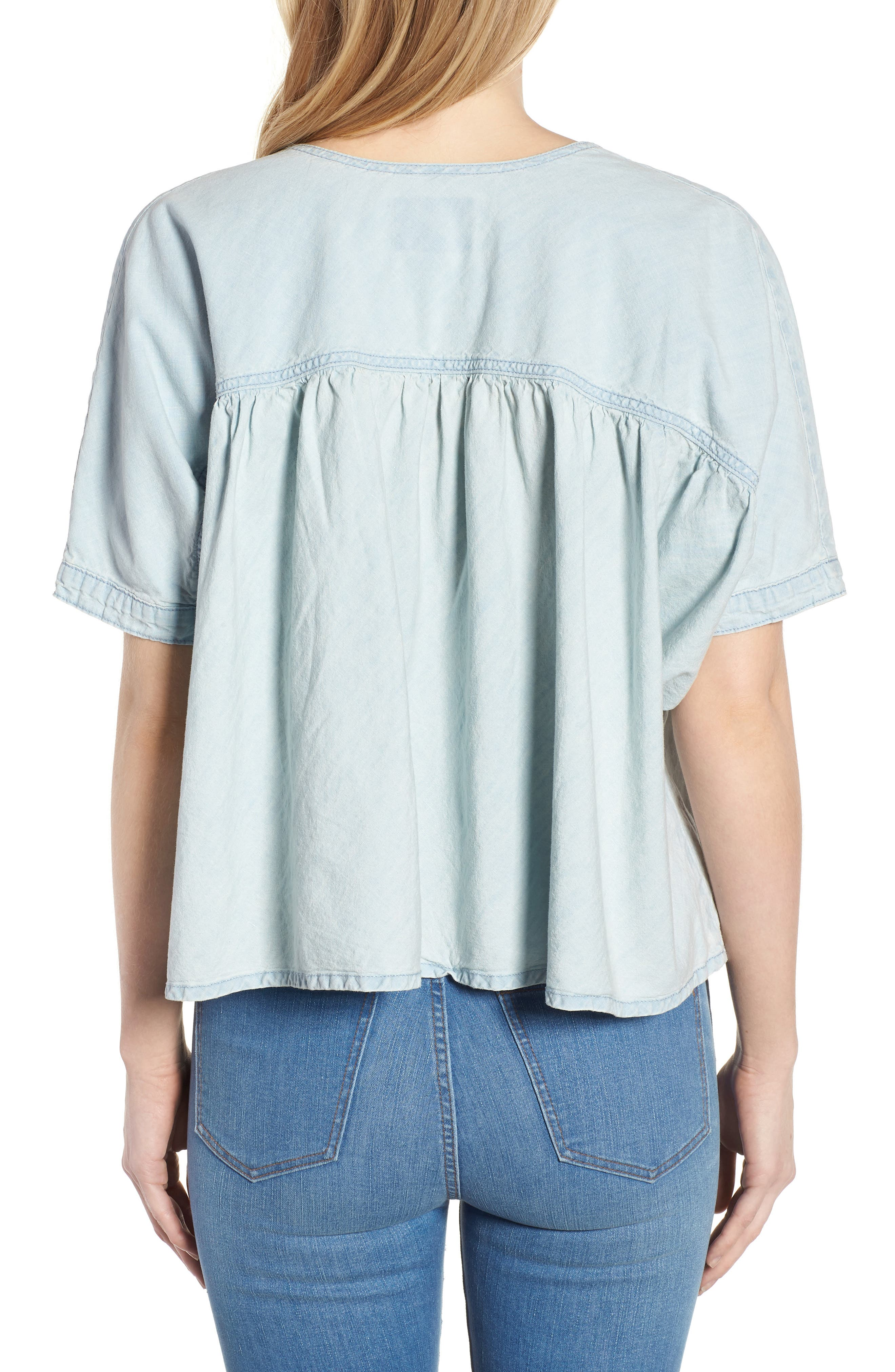 Tie Neck Chambray Top,                             Alternate thumbnail 2, color,                             Pelican Lake