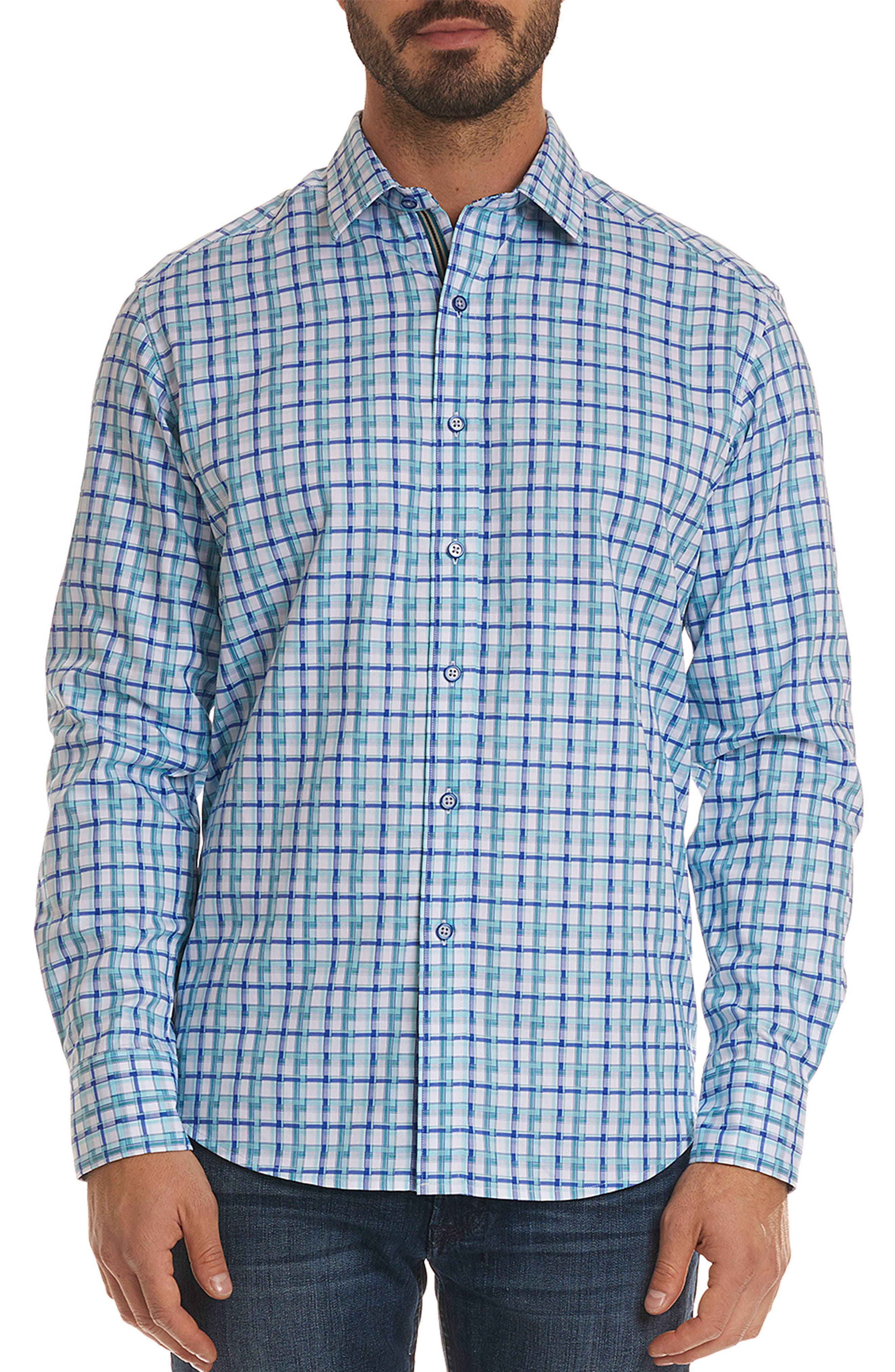Grouper Classic Fit Geo Sport Shirt,                         Main,                         color, Teal