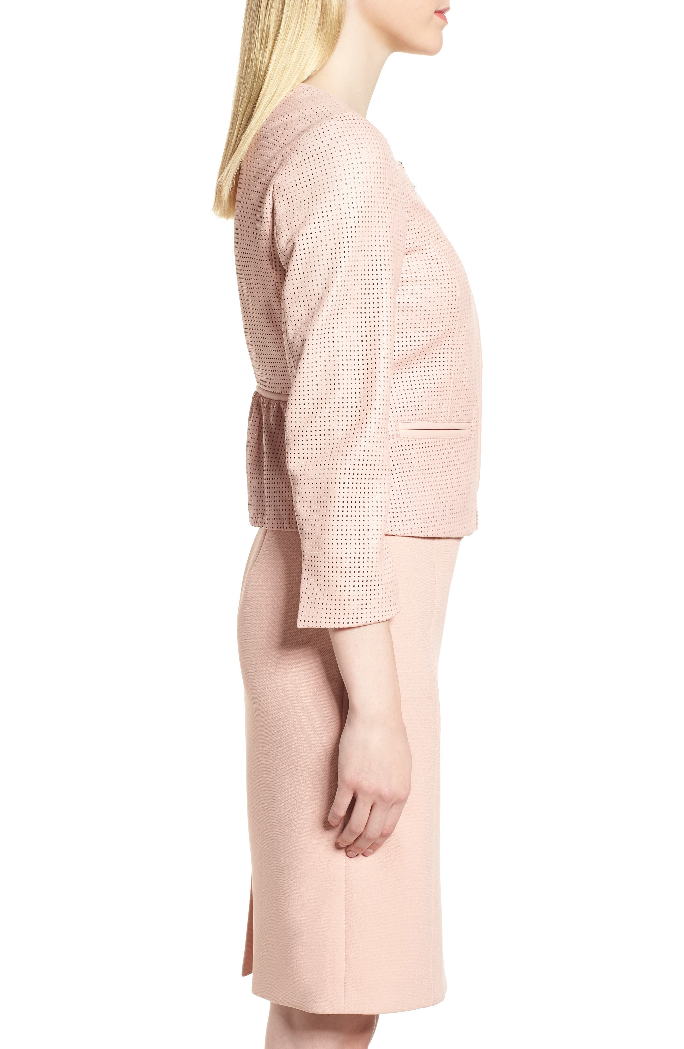 Sallotina Perforated Leather Jacket,                             Alternate thumbnail 3, color,                             Blush