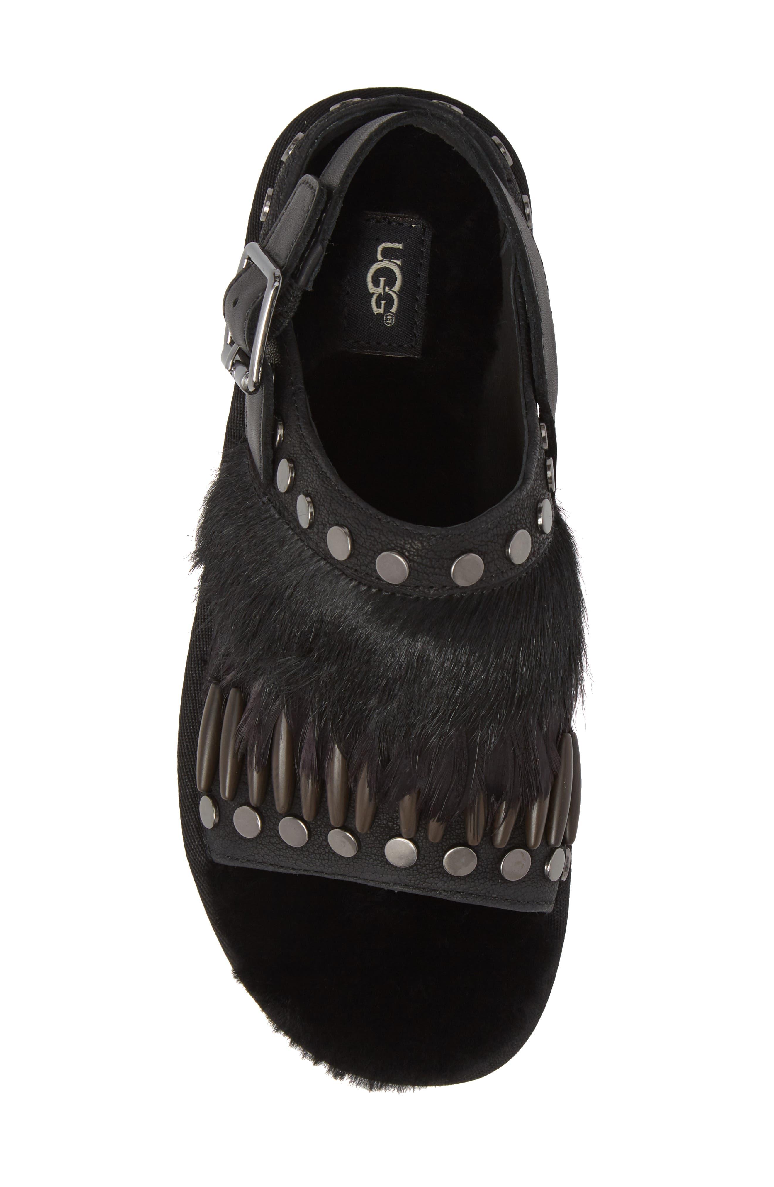 Biker Chic Genuine Shearling & Feather Sandal,                             Alternate thumbnail 5, color,                             Black Leather