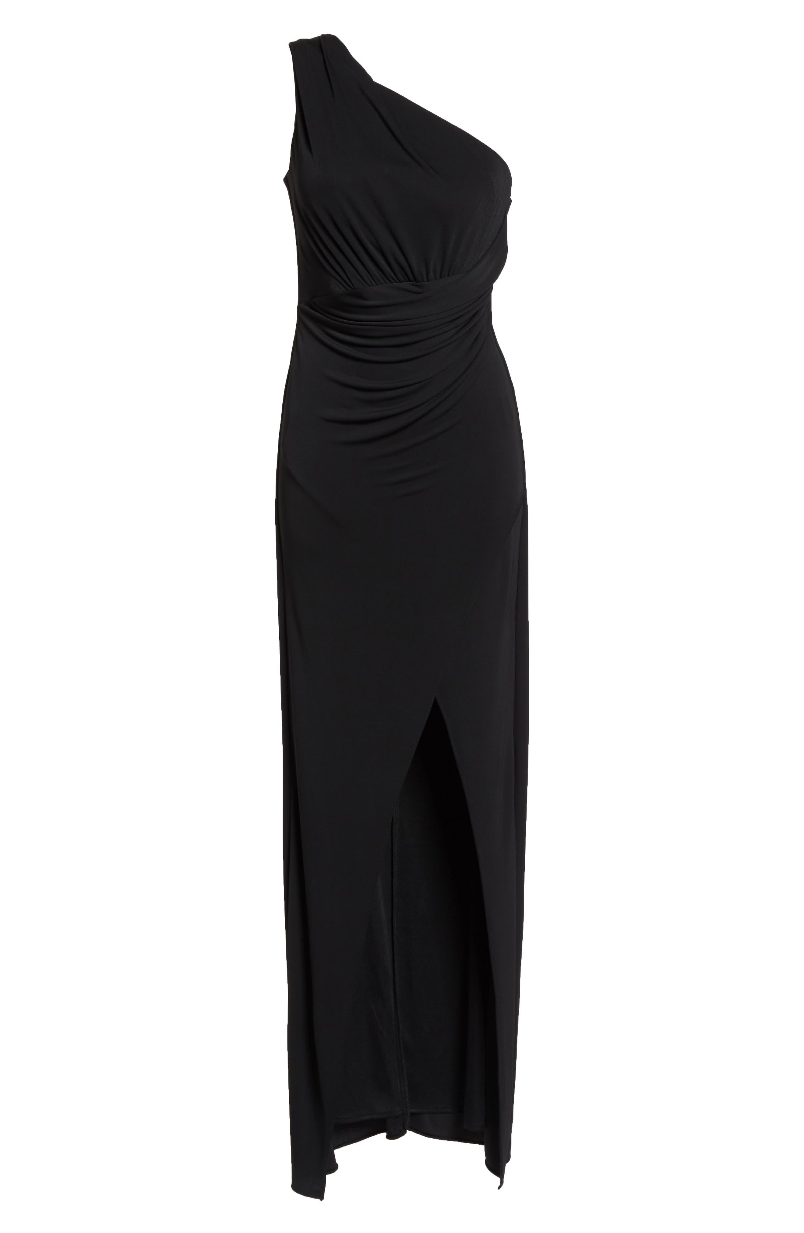 Kerri One-Shoulder Gown,                             Alternate thumbnail 6, color,                             Black