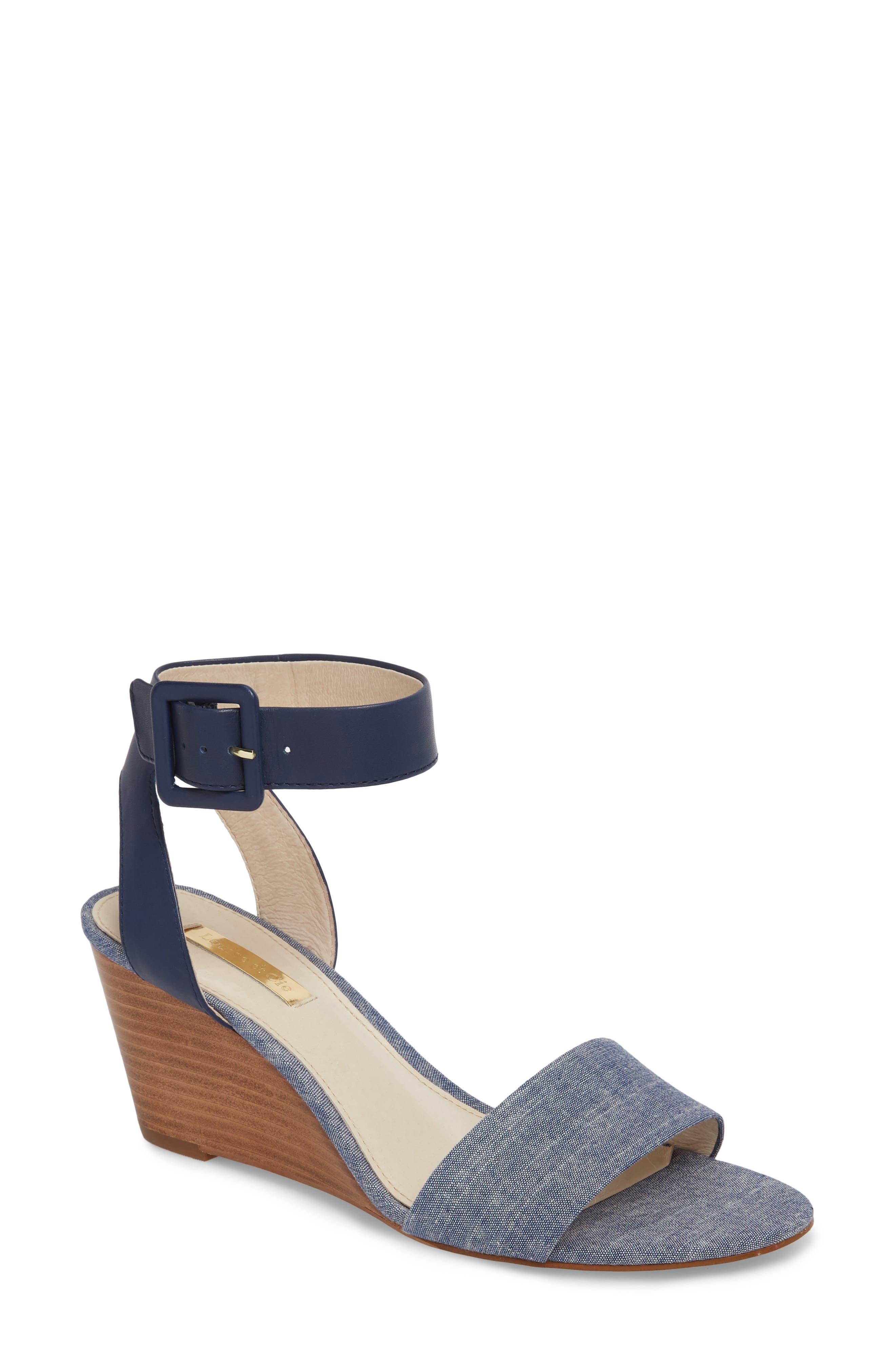 Punya Wedge Sandal,                         Main,                         color, Denim Fabric