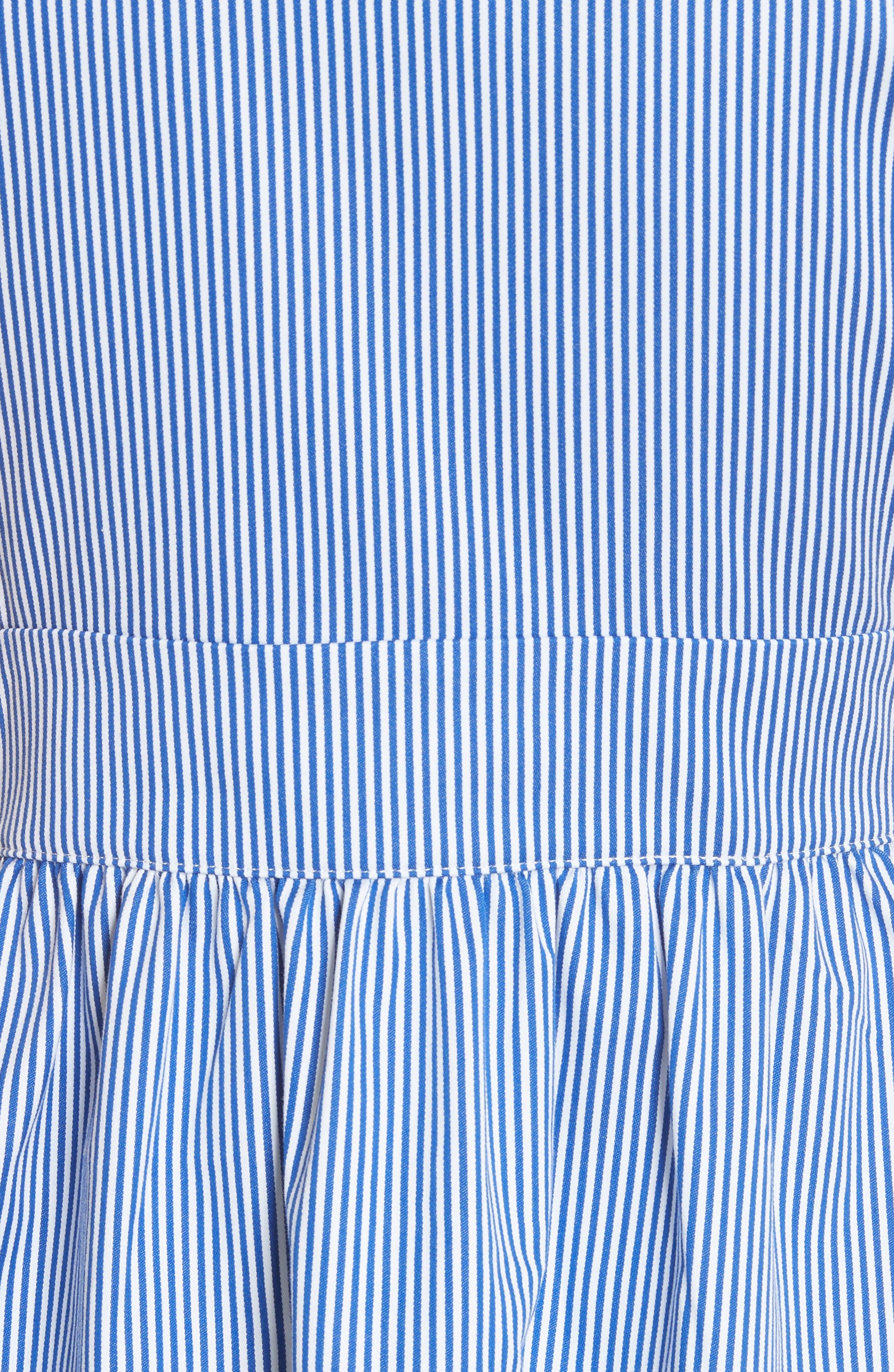 Stripe Frill Bib Fit & Flare Dress,                             Alternate thumbnail 5, color,                             White