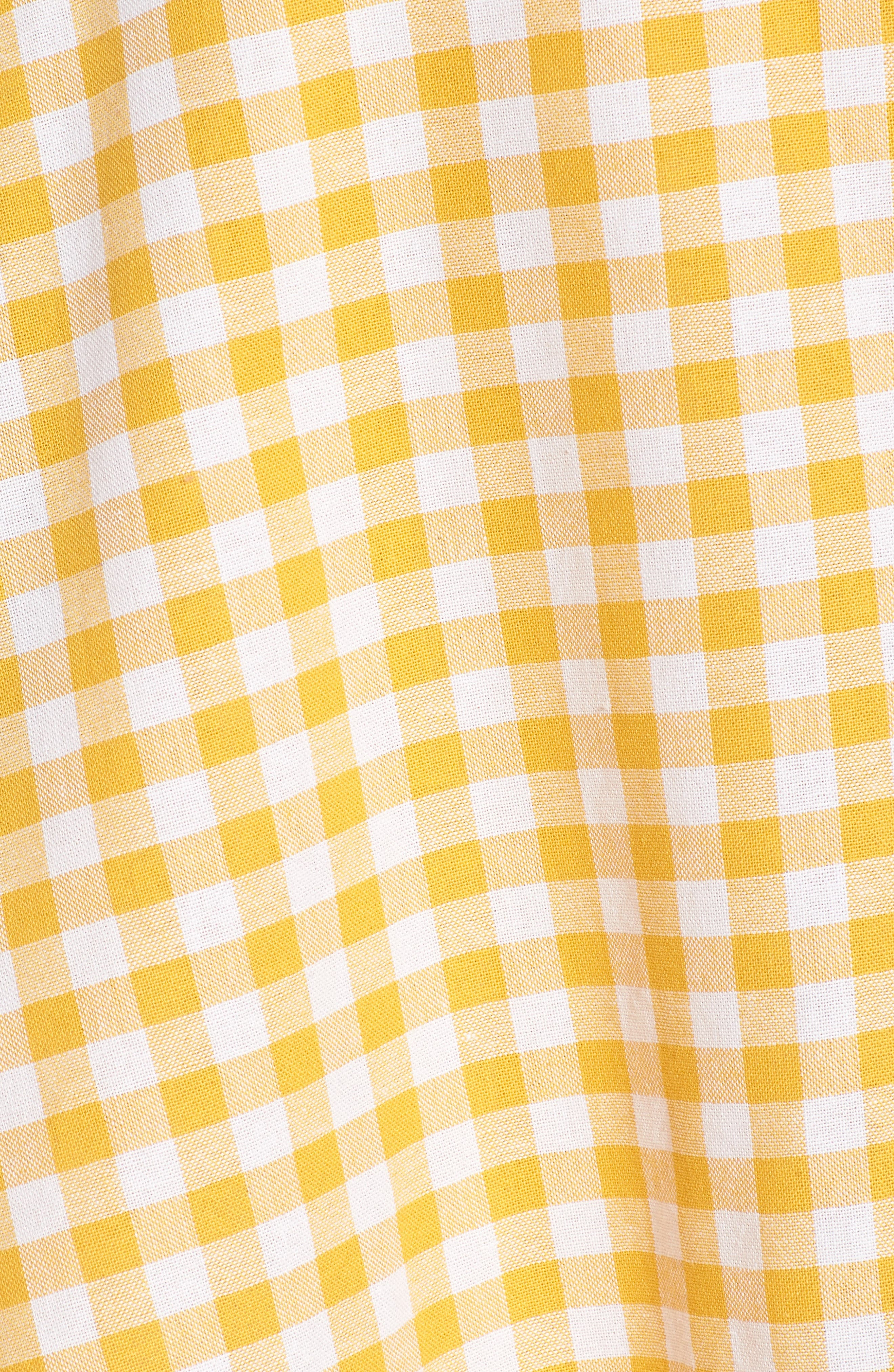 Idyllic Gingham Ruffle Dress,                             Alternate thumbnail 5, color,                             Buttercup
