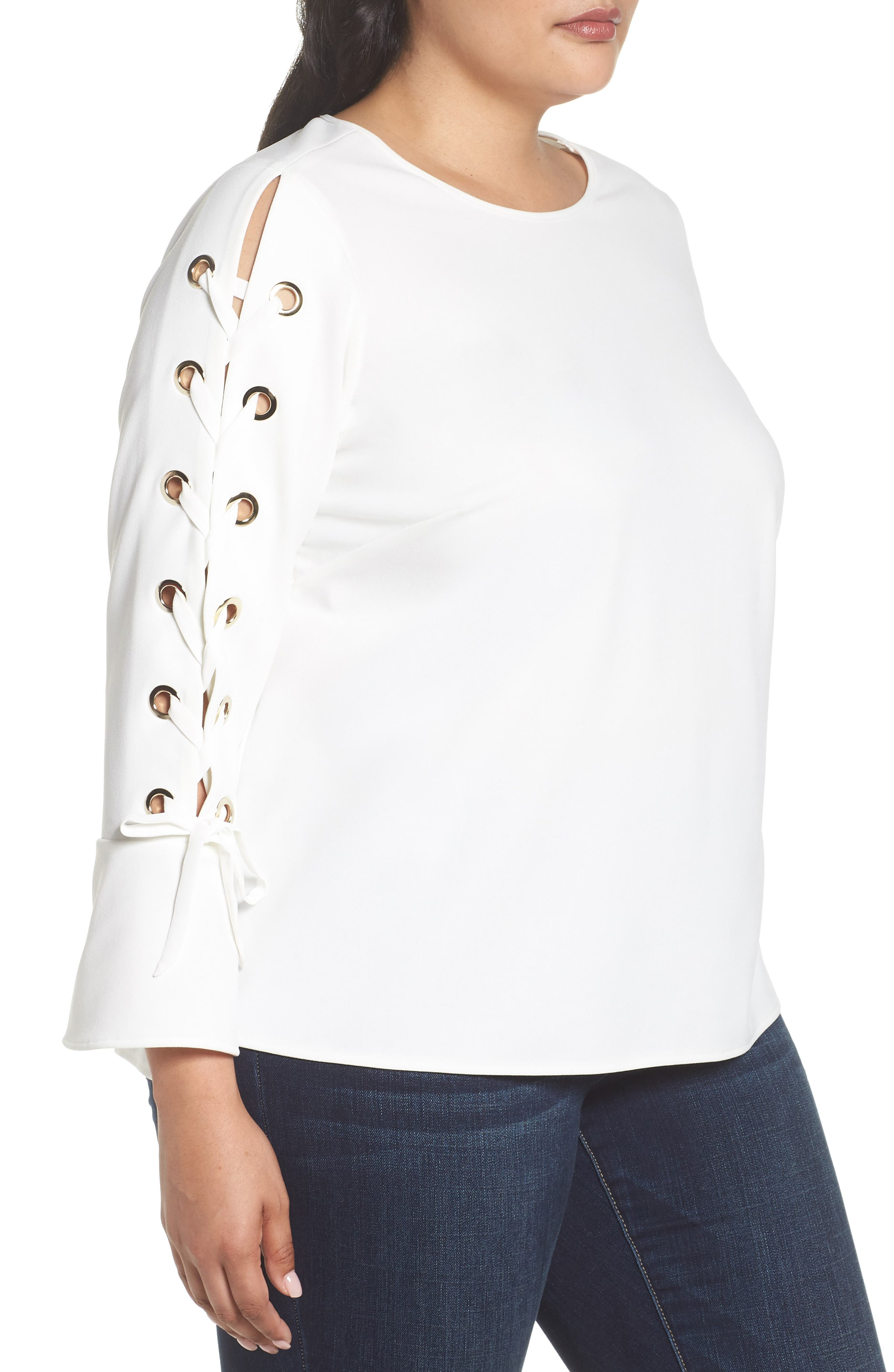 Lace-Up Bell Sleeve Top,                             Alternate thumbnail 3, color,                             New Ivory