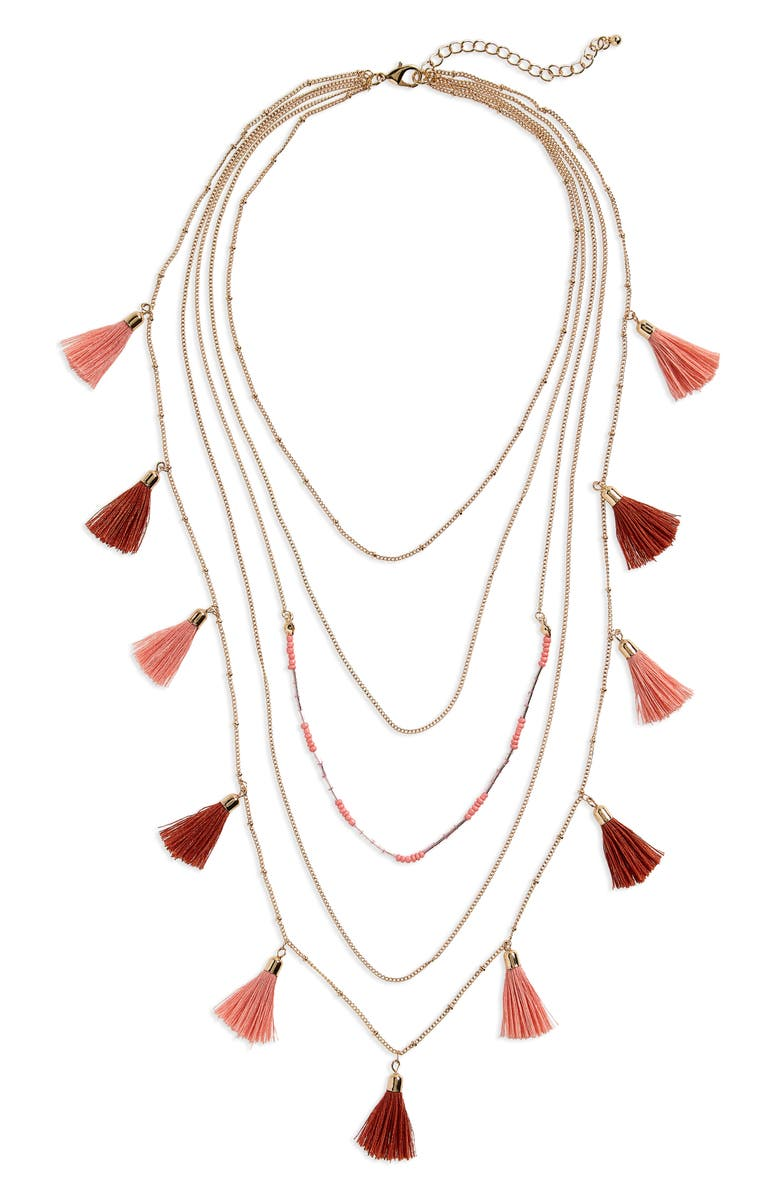 Layered Tassel Necklace,                         Main,                         color, Multi