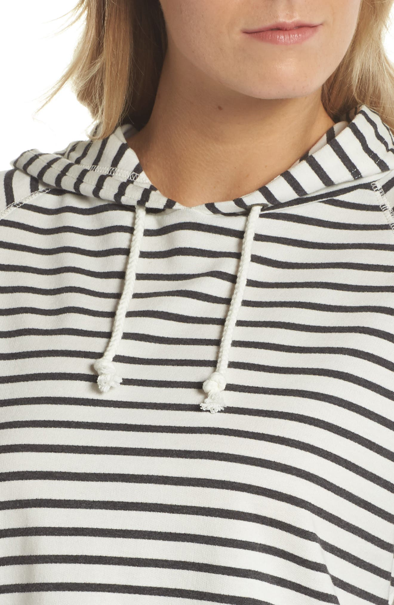 French Terry Crop Hoodie,                             Alternate thumbnail 6, color,                             Heather Black Stripe