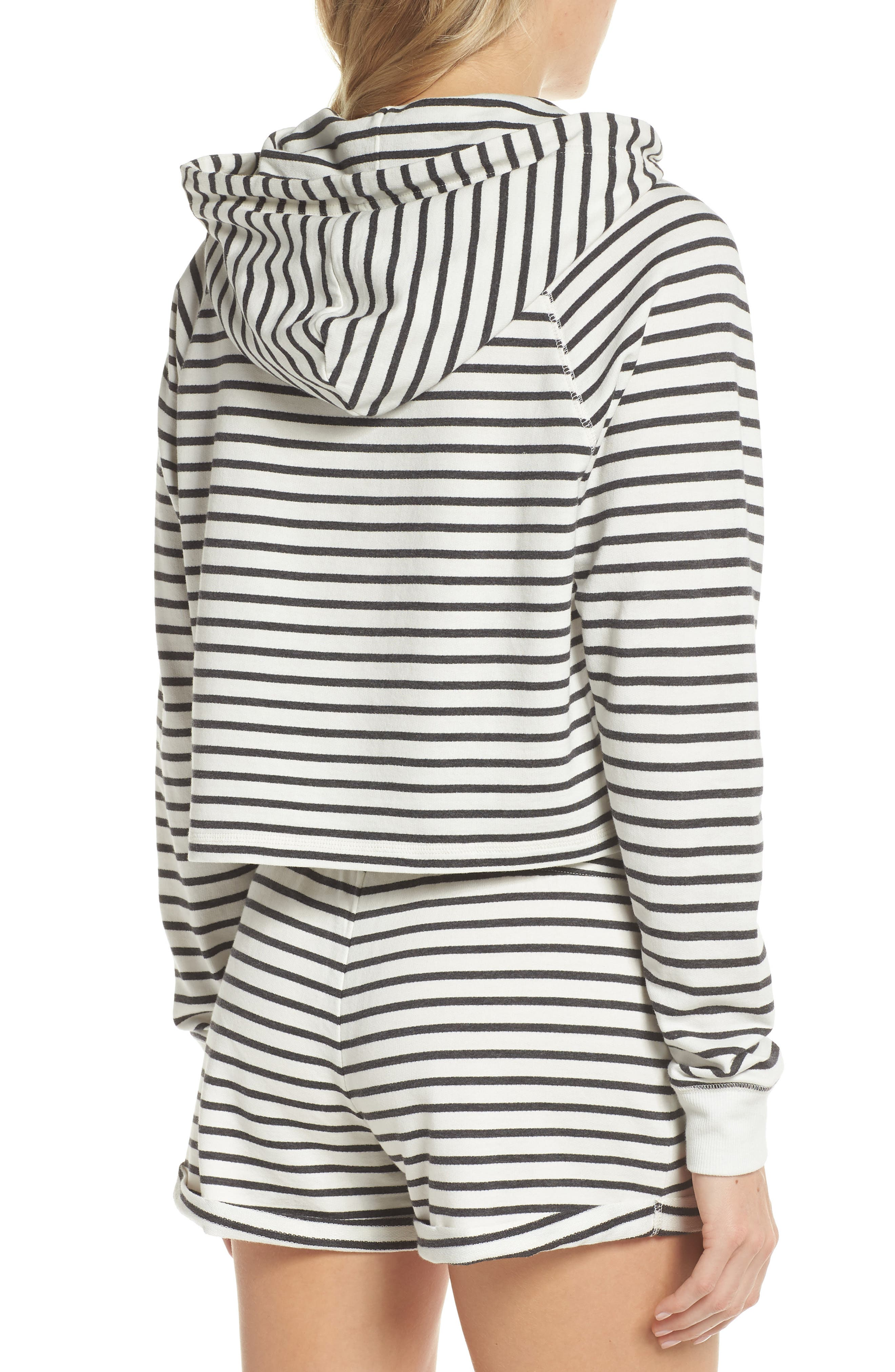 French Terry Crop Hoodie,                             Alternate thumbnail 2, color,                             Heather Black Stripe