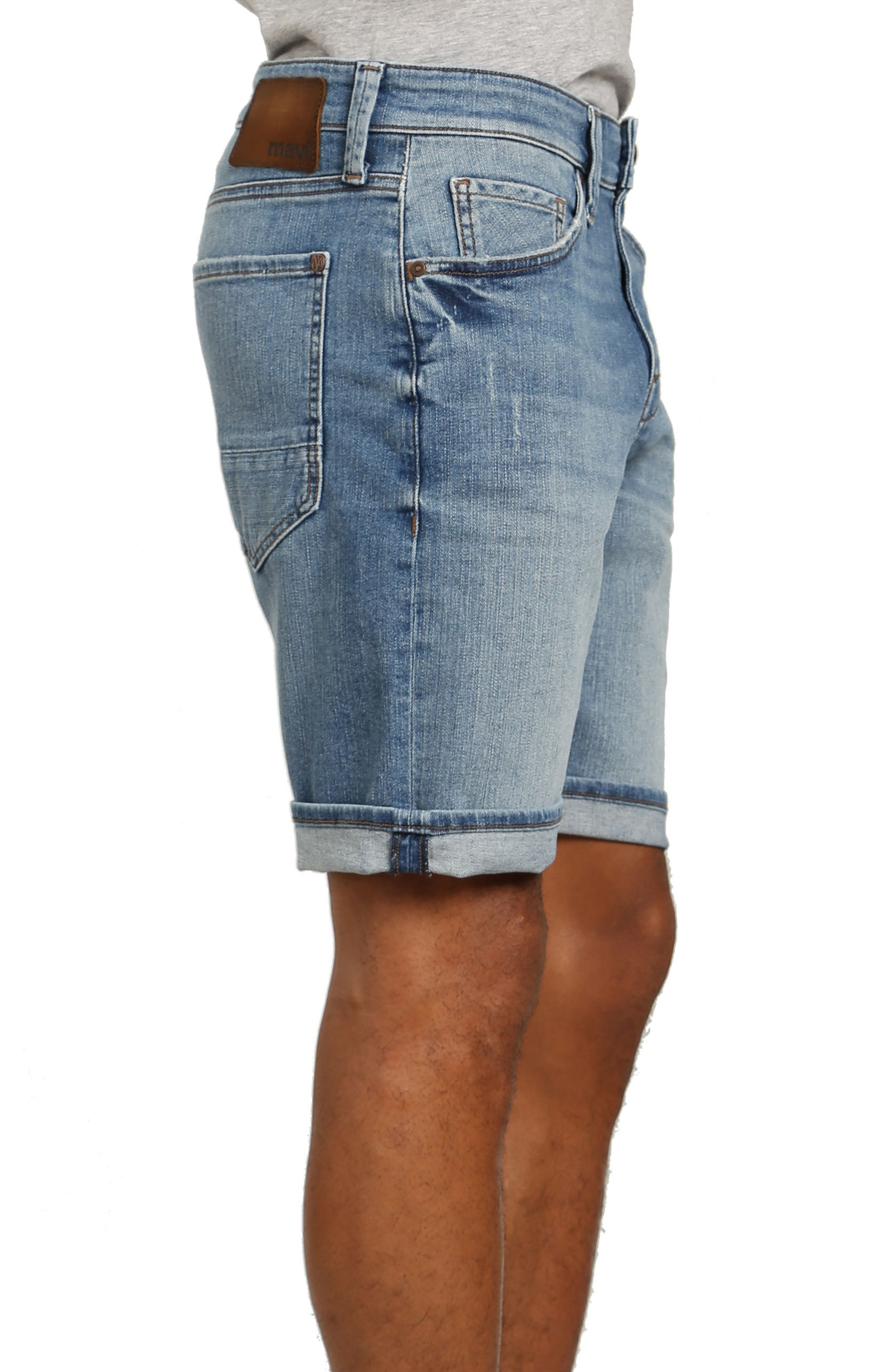 Brian Denim Cutoff Shorts,                             Alternate thumbnail 3, color,                             Mid Used Comfort