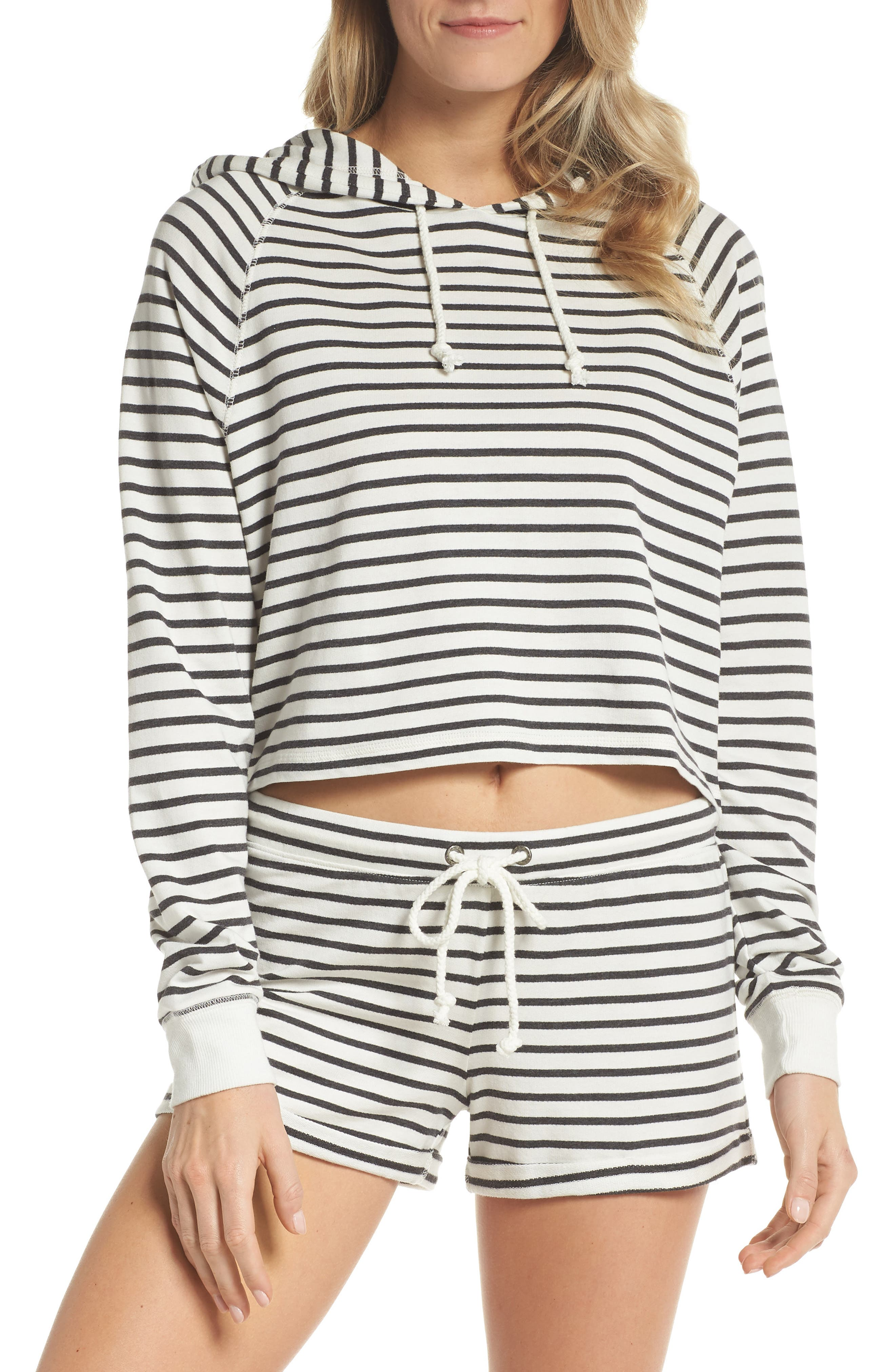 French Terry Crop Hoodie,                             Alternate thumbnail 5, color,                             Heather Black Stripe