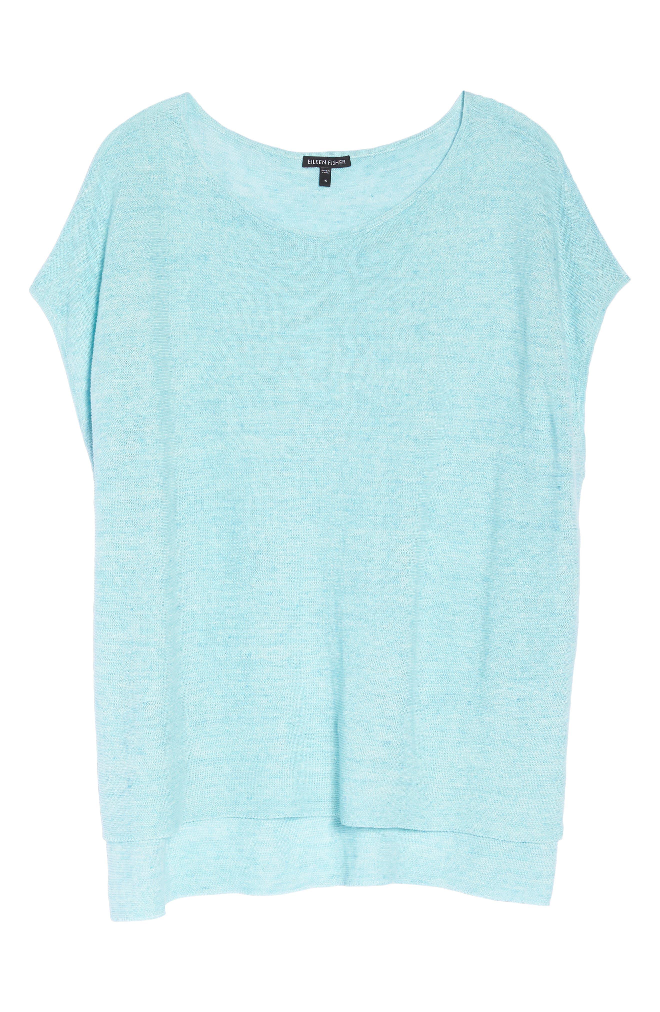Organic Linen Poncho,                             Alternate thumbnail 6, color,                             Pale Turquoise