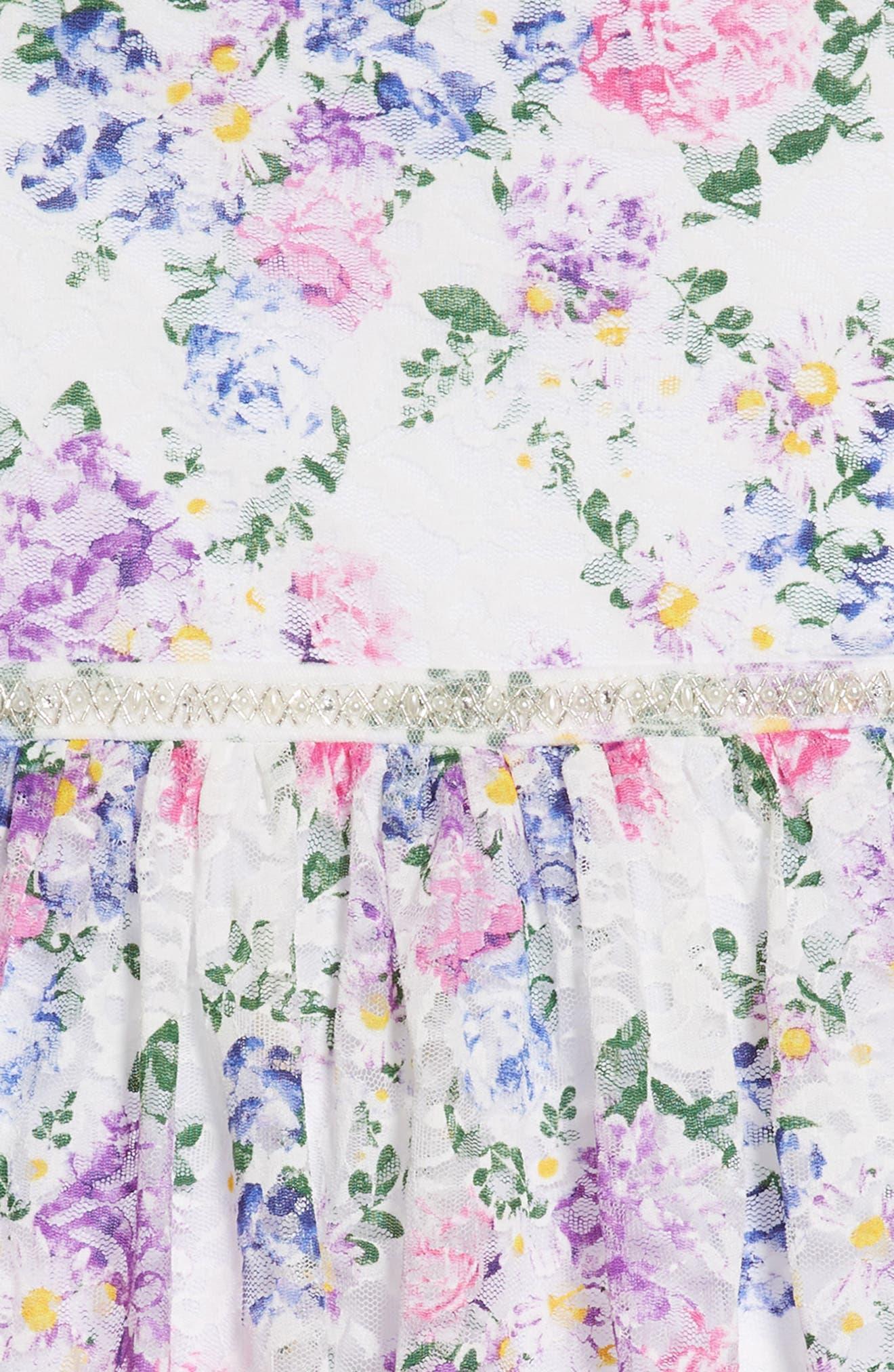 Floral Lace Dress,                             Alternate thumbnail 3, color,                             White/ Lavendar