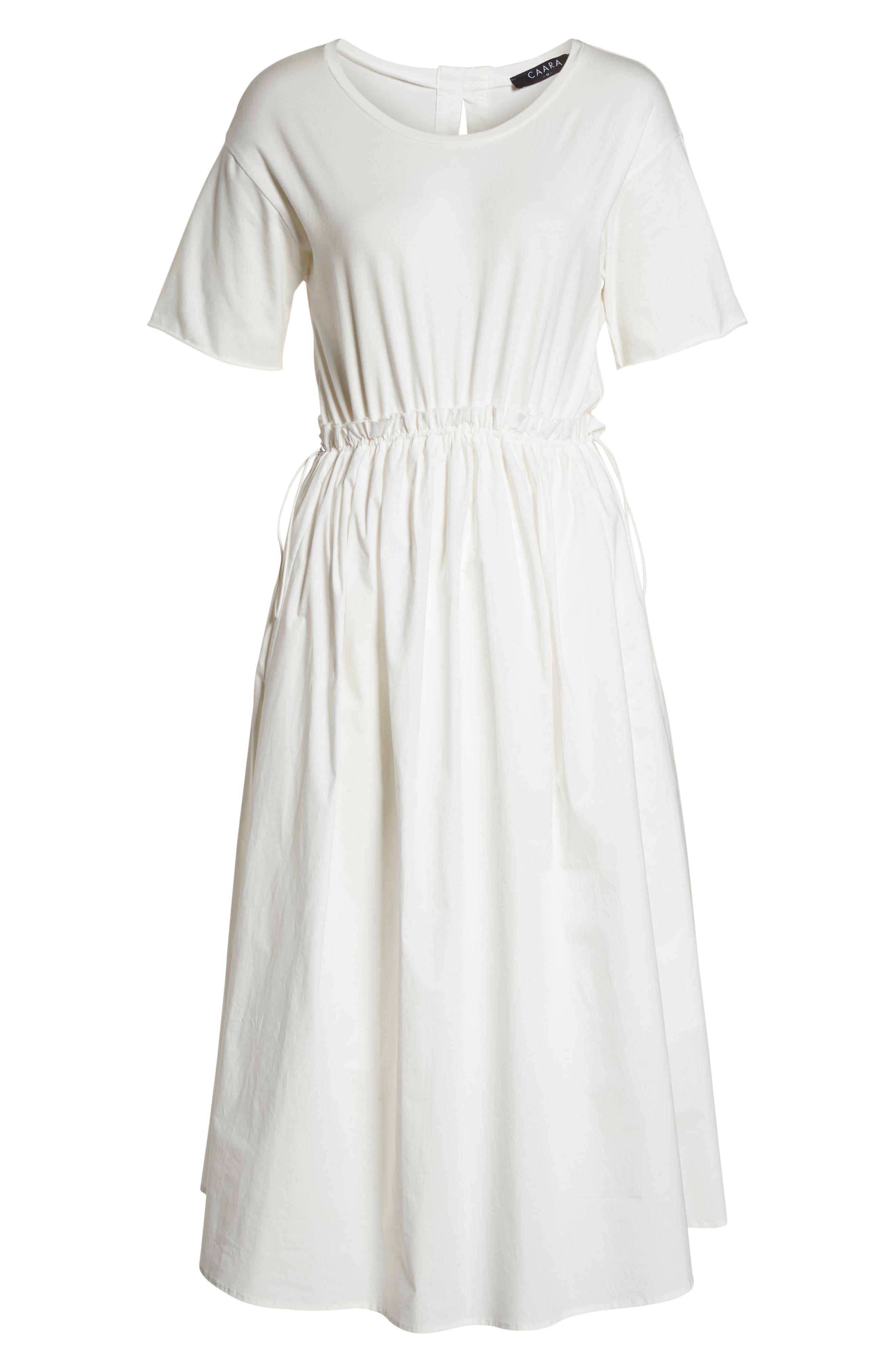 Tie Back Midi Dress,                             Alternate thumbnail 7, color,                             White