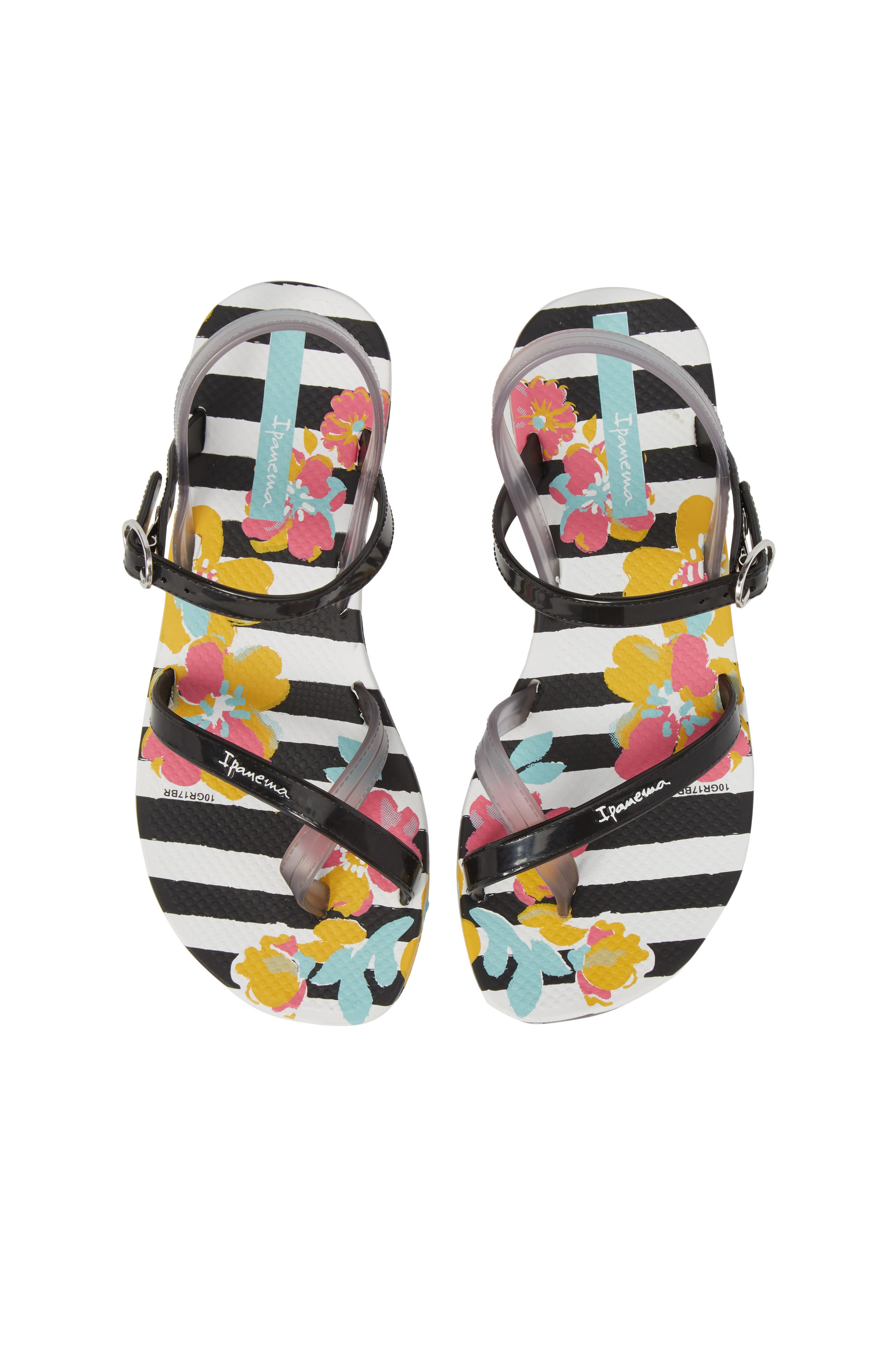 Toe Loop Sandal,                         Main,                         color, White/ Black