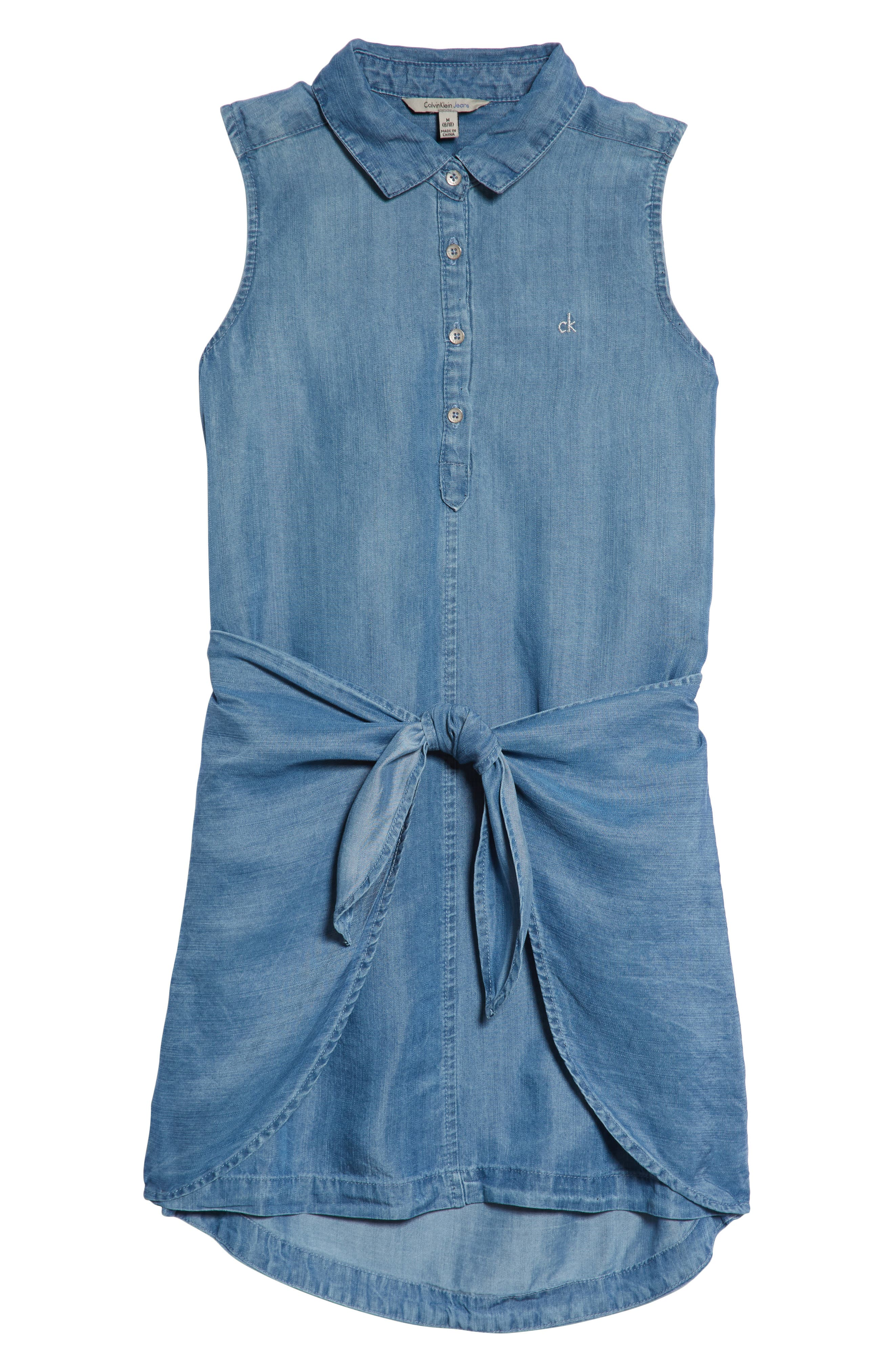 Denim Shirtdress,                             Main thumbnail 1, color,                             Bella Blue