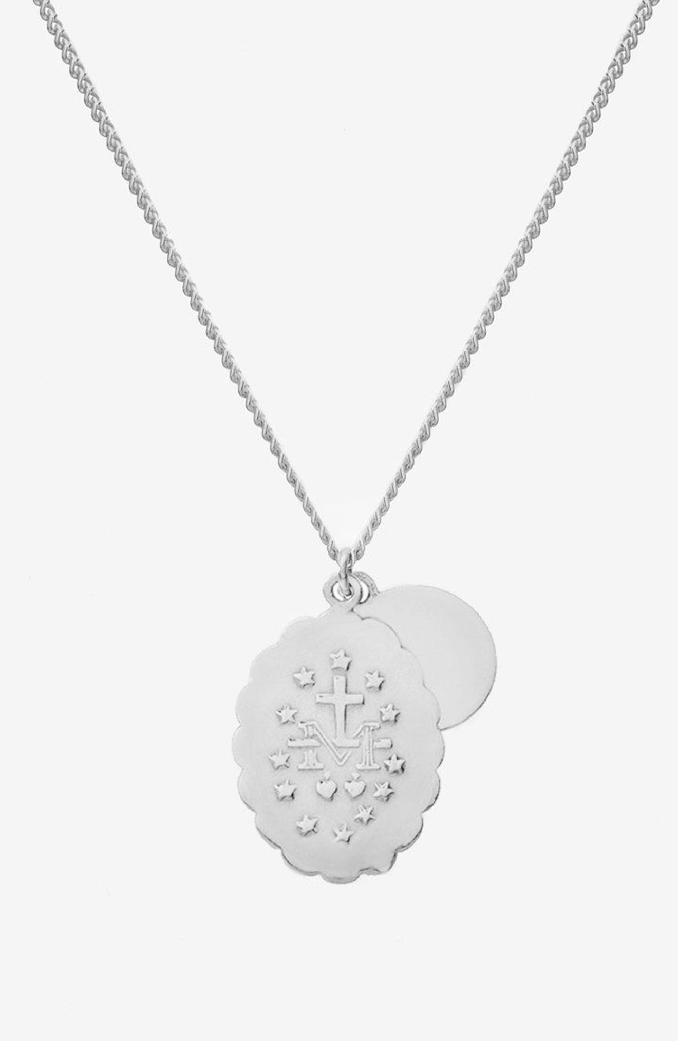 Mini Saints Pendant Duo Necklace,                             Alternate thumbnail 2, color,                             Polished Sterling Silver
