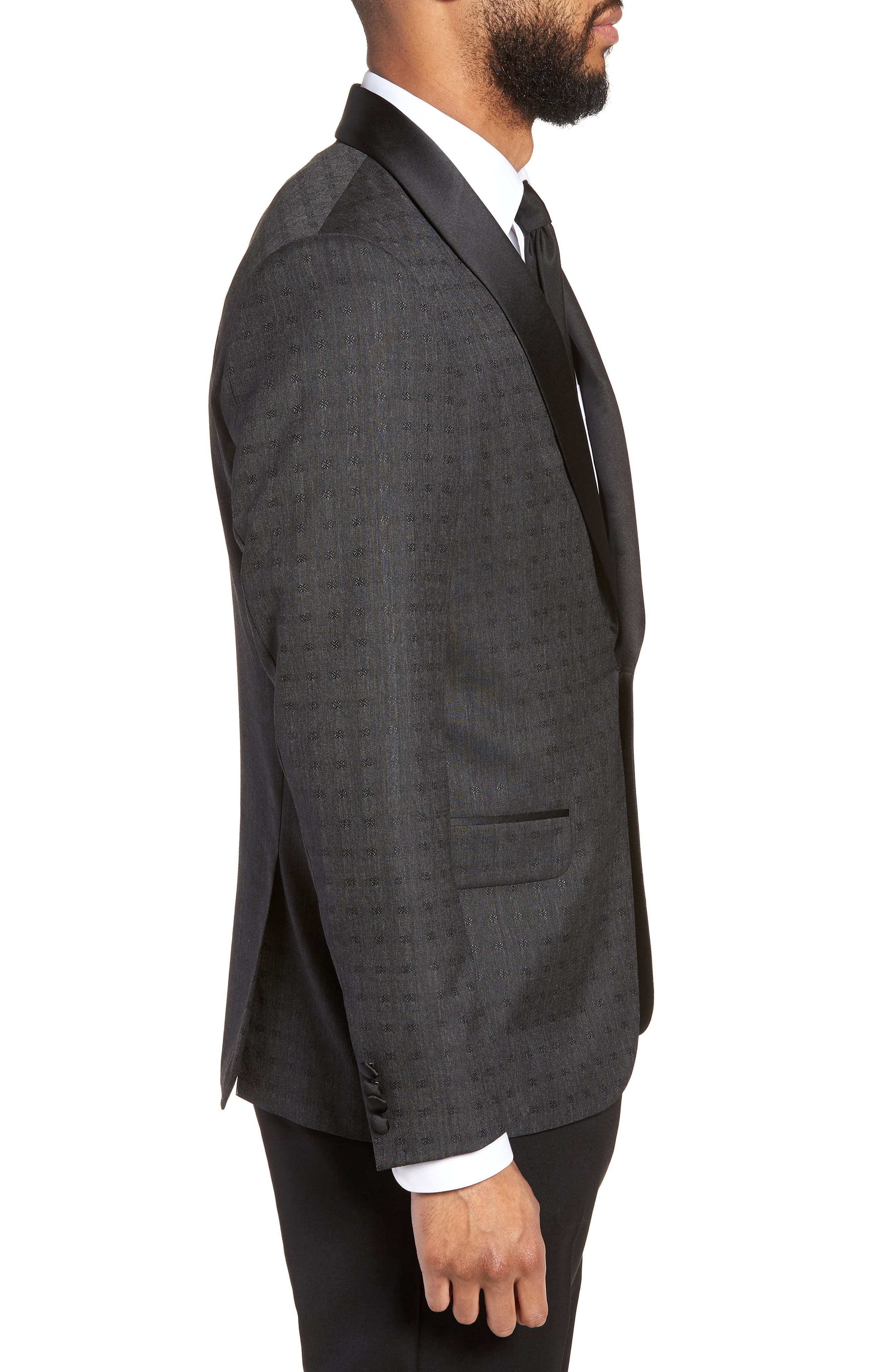 Morgan Trim Fit Wool Dinner Jacket,                             Alternate thumbnail 3, color,                             Charcoal Dobby