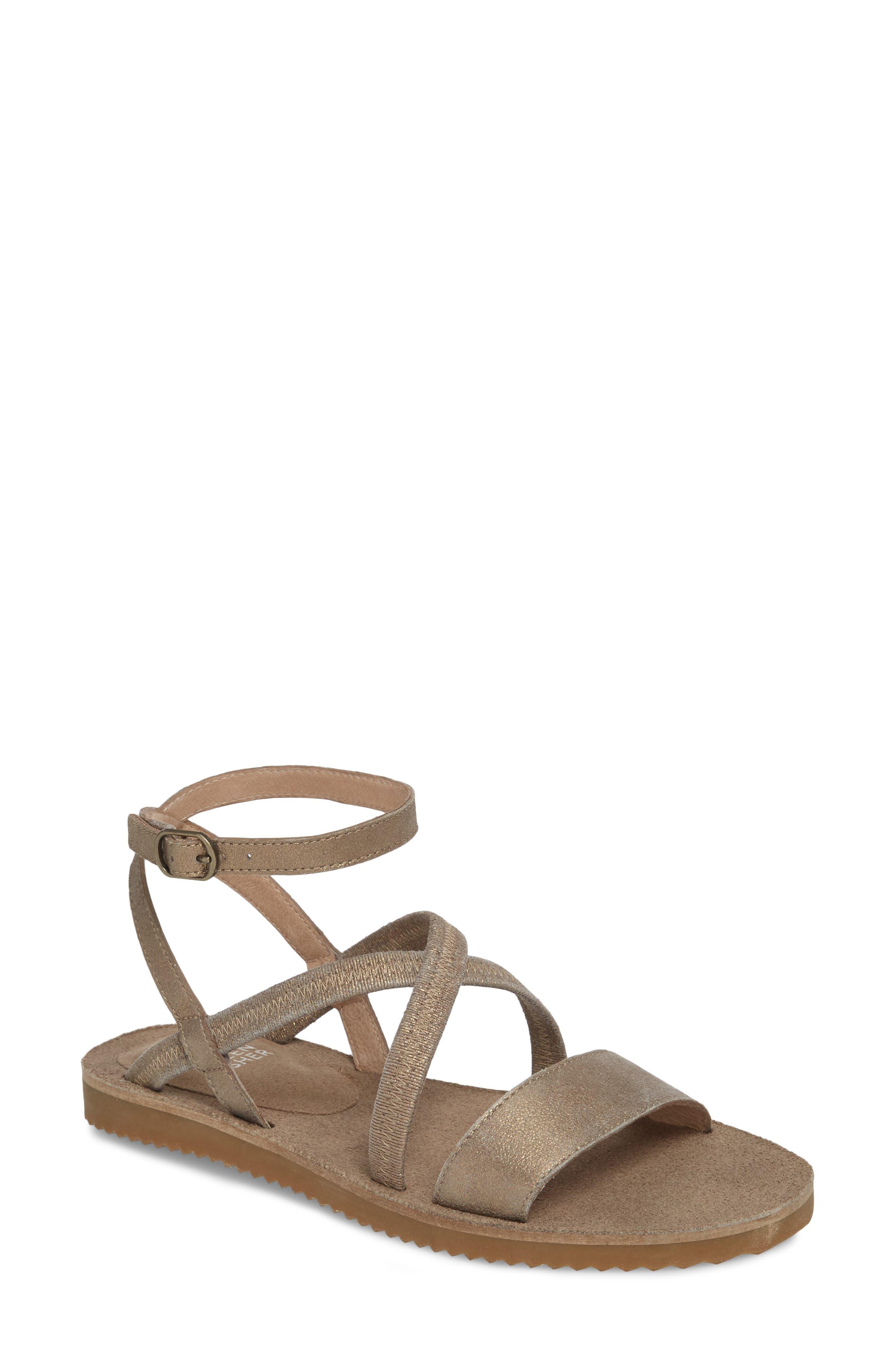 June Sandal,                         Main,                         color, Platinum Leather