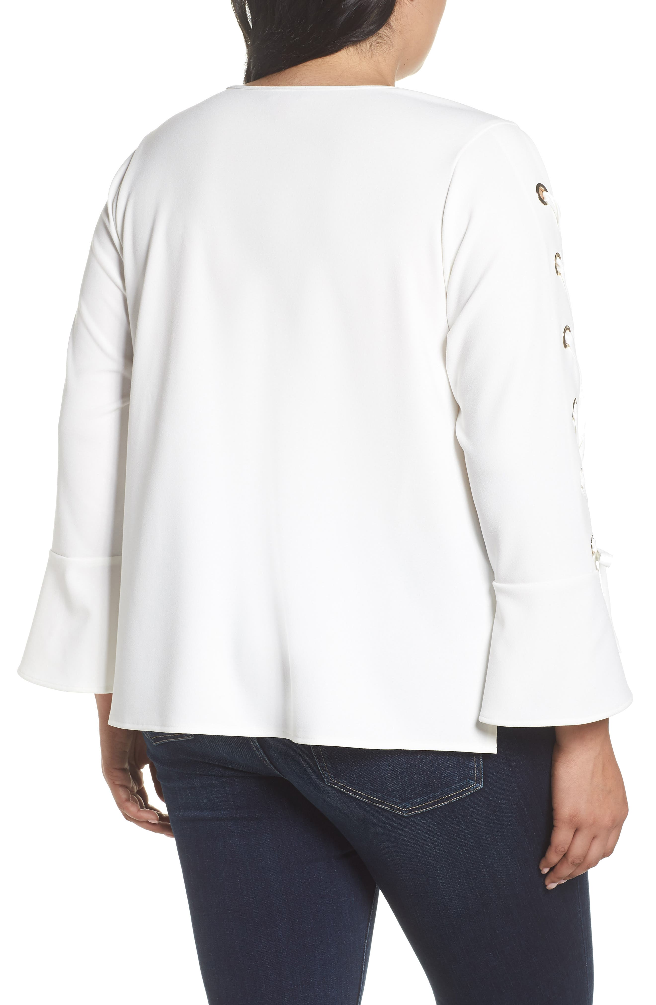 Lace-Up Bell Sleeve Top,                             Alternate thumbnail 2, color,                             New Ivory