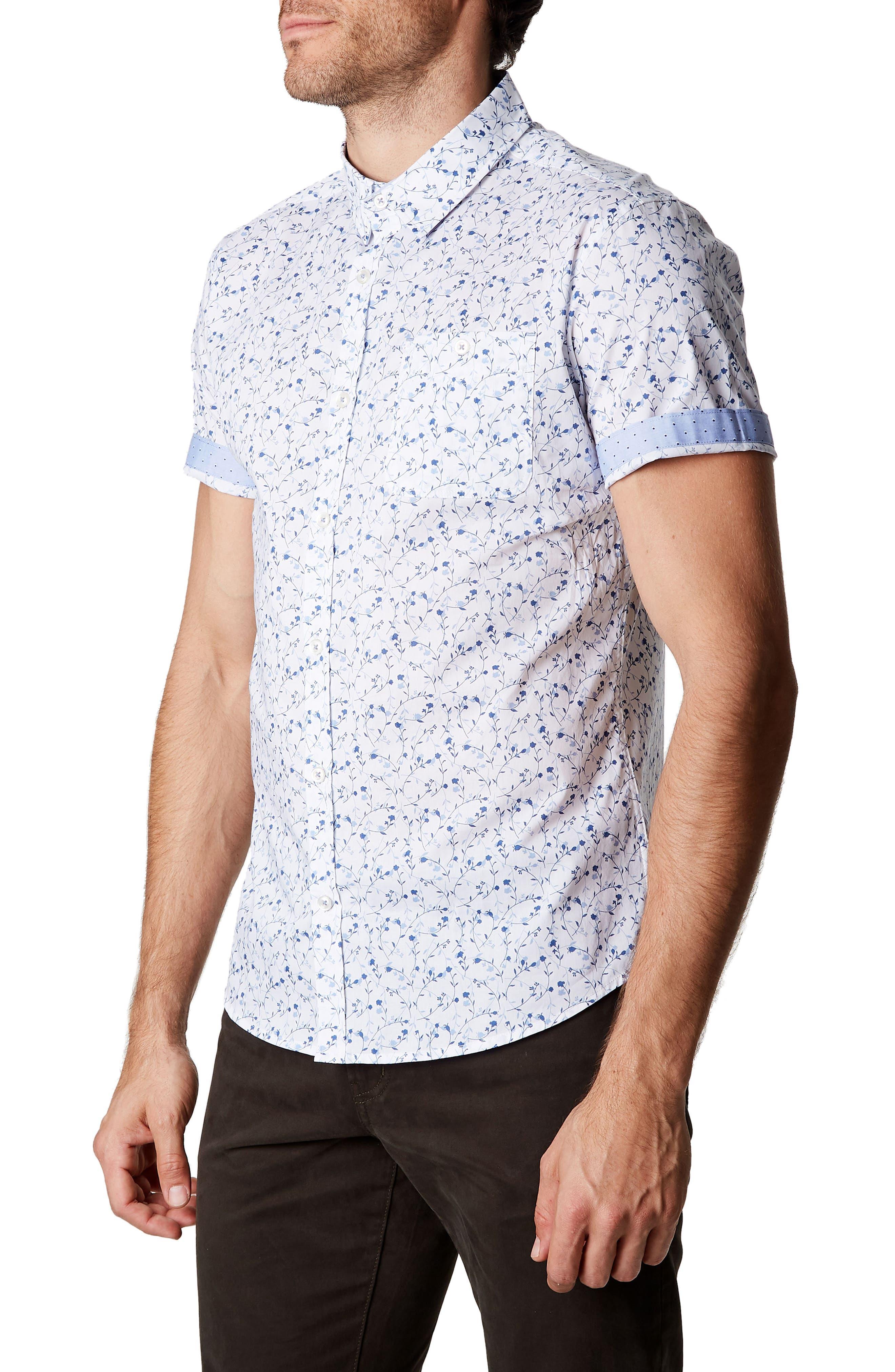Mind Gardens Floral Sport Shirt,                             Alternate thumbnail 3, color,                             White
