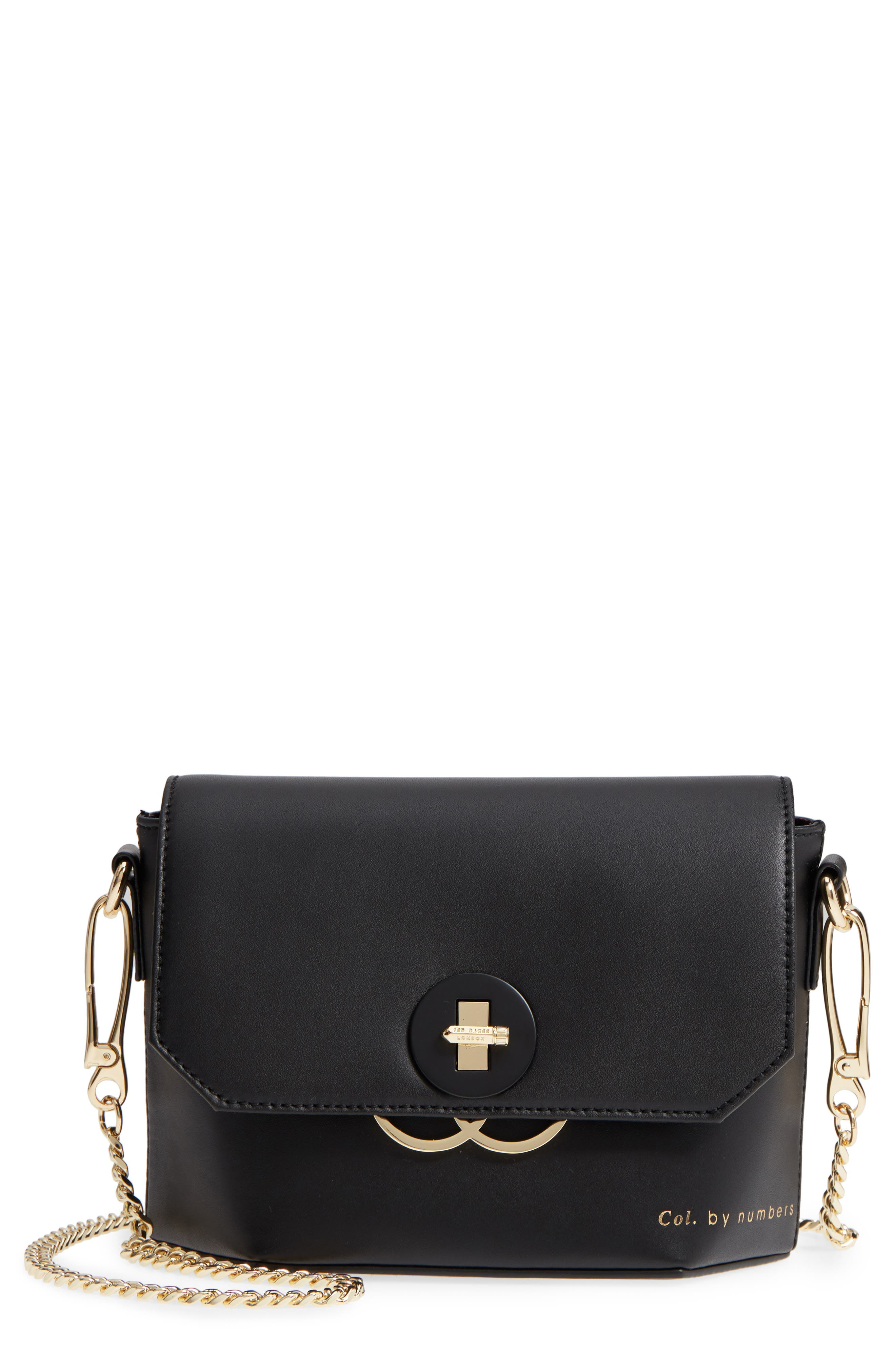Colour by Numbers Leather Crossbody Bag,                             Main thumbnail 1, color,                             Black