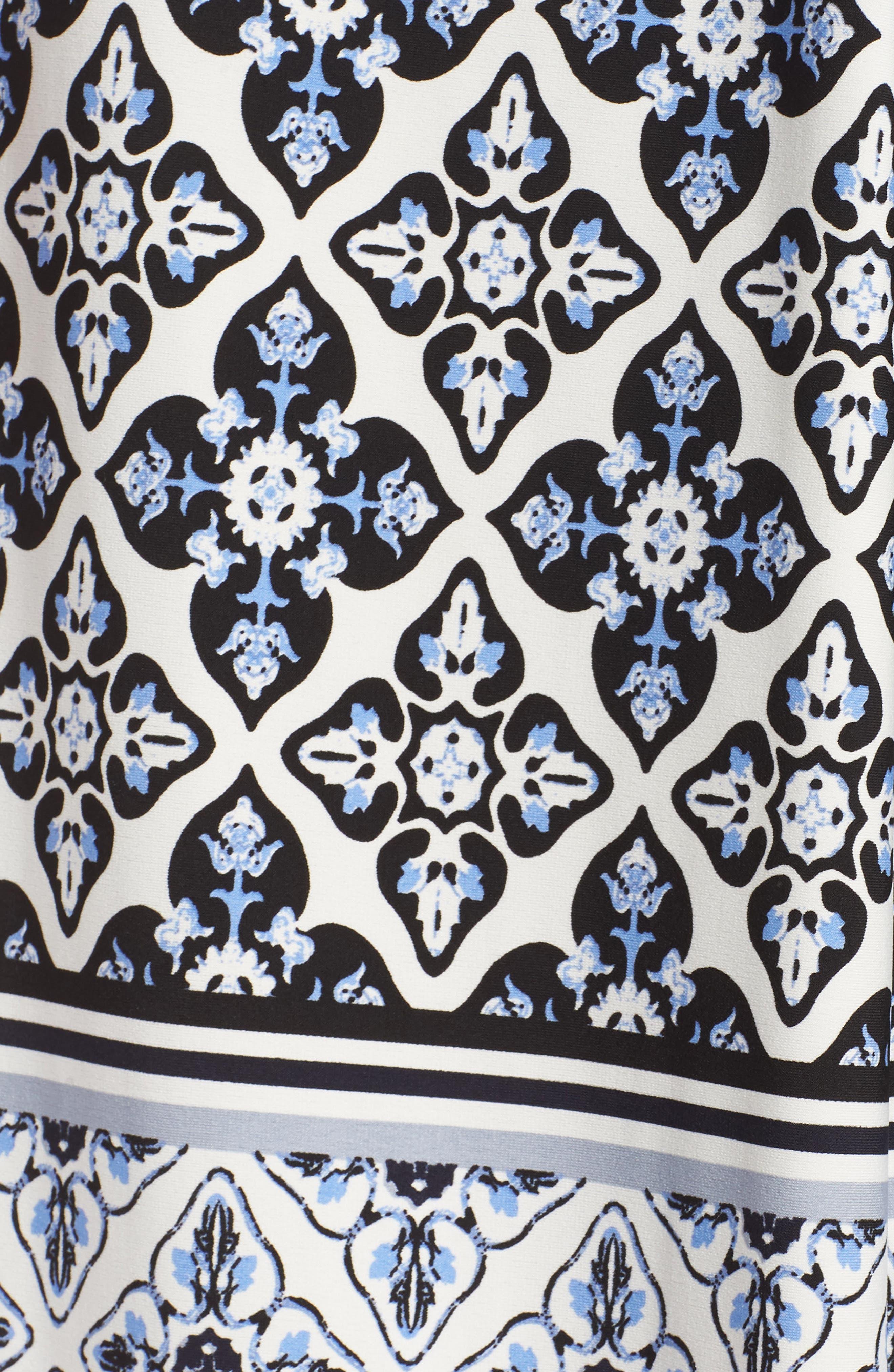 Knot Detail Jersey Maxi Dress,                             Alternate thumbnail 6, color,                             Blue/ White