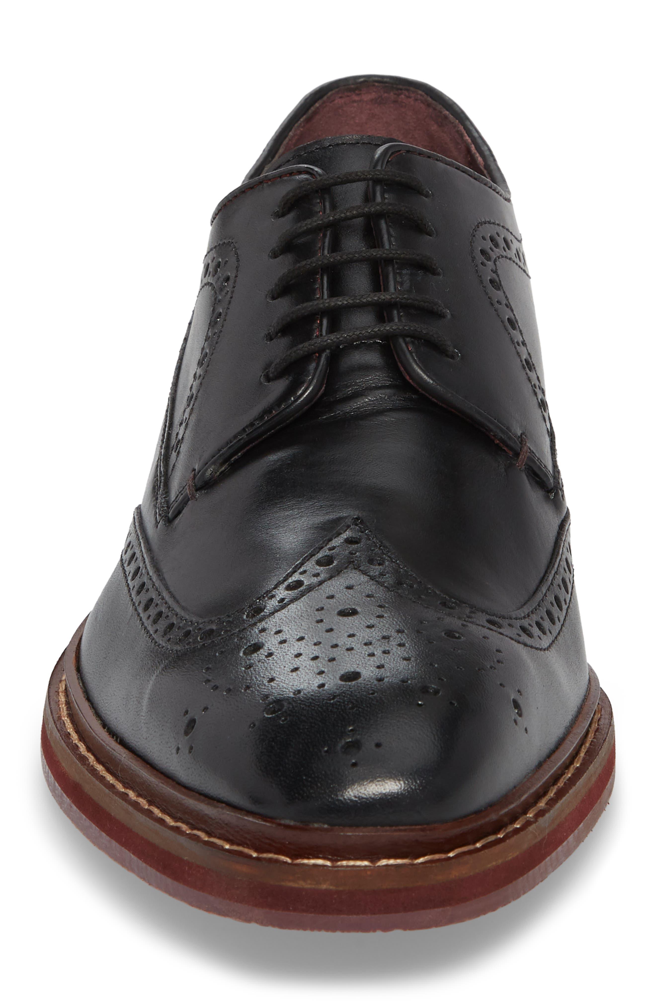 Gourdon Wingtip Derby,                             Alternate thumbnail 4, color,                             Black Leather