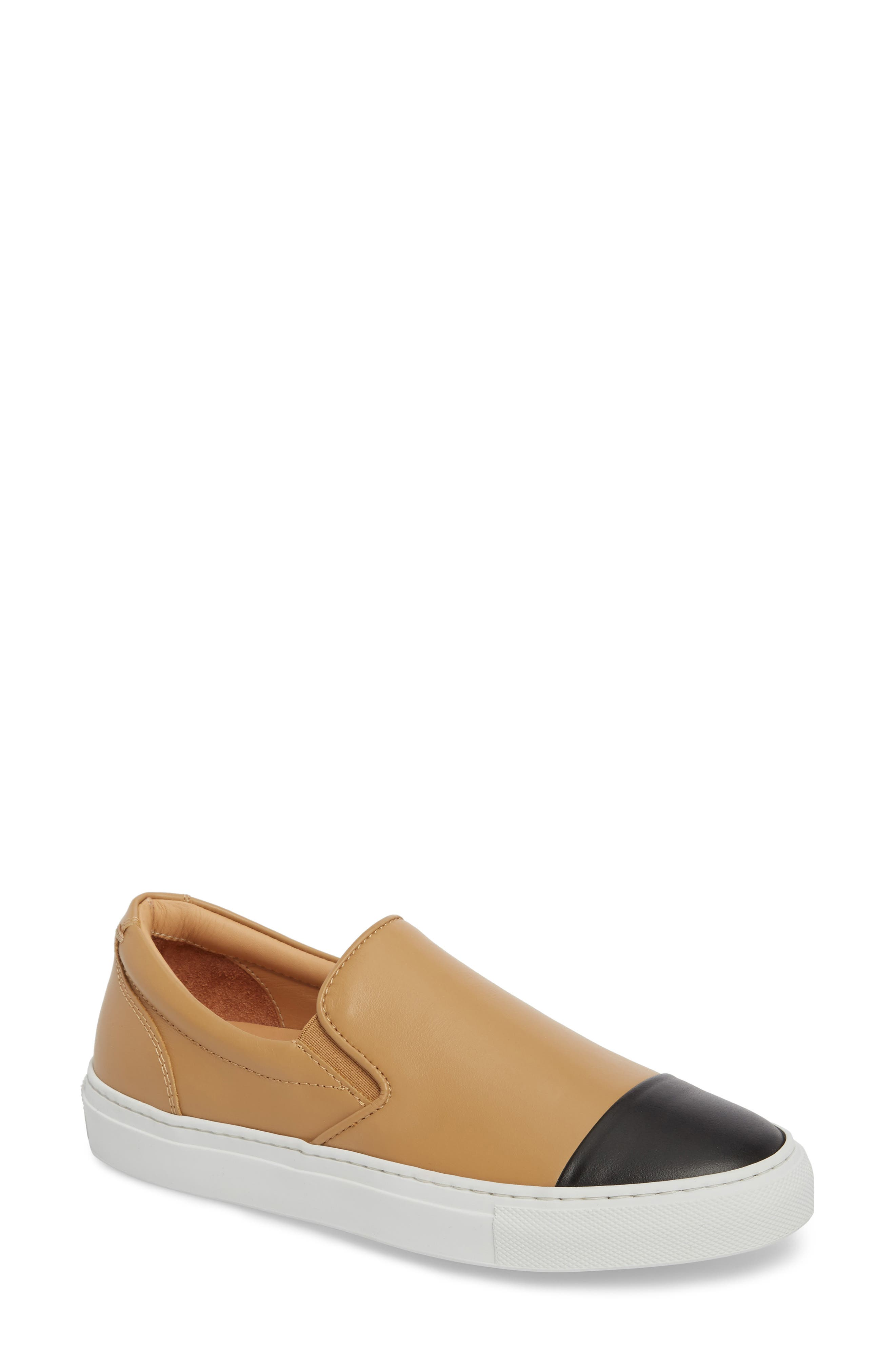 Wooster Cap Toe Slip-On Sneaker,                             Main thumbnail 1, color,                             Almond